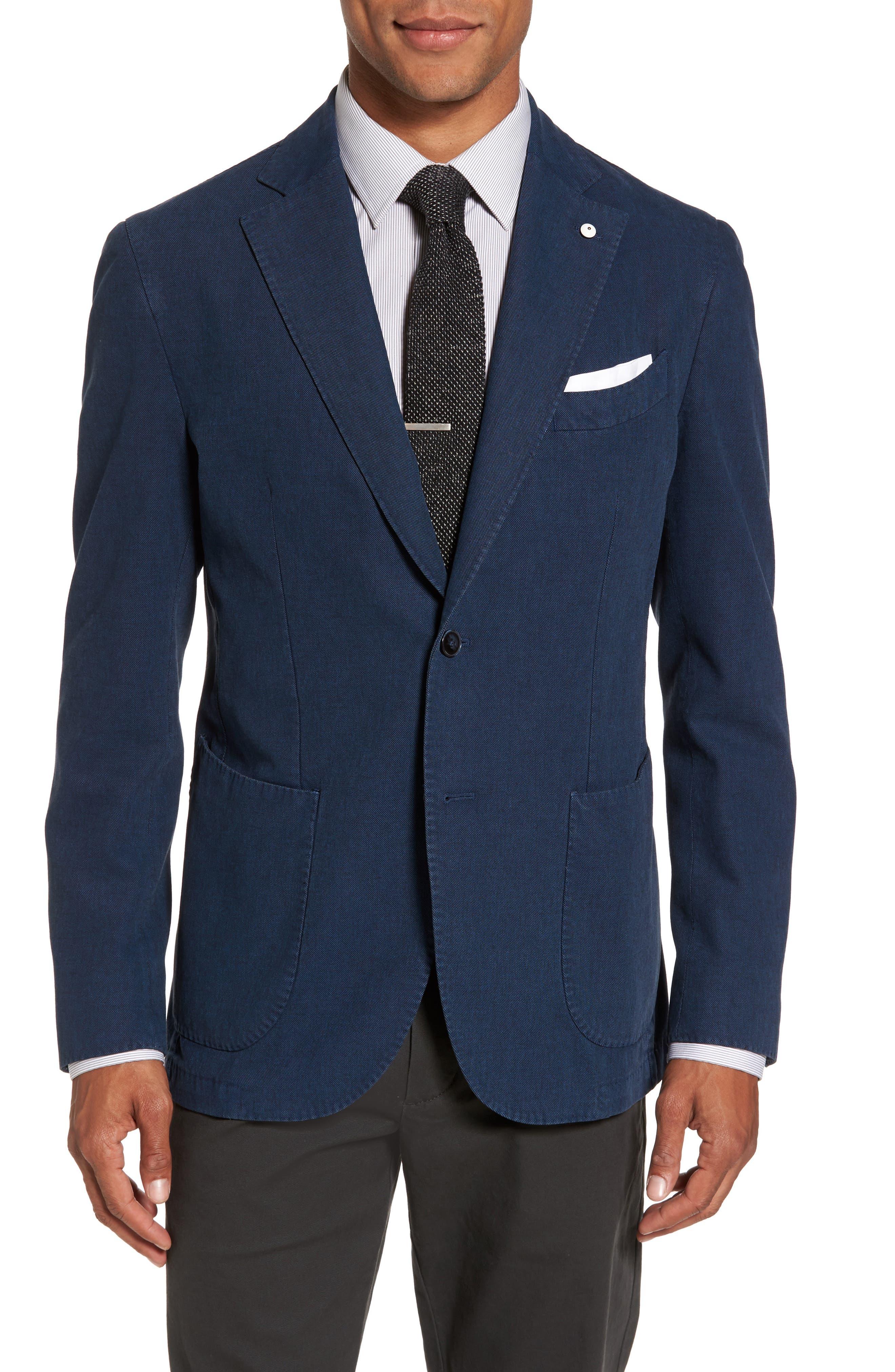 Classic Fit Cotton Blend Blazer,                         Main,                         color, Blue