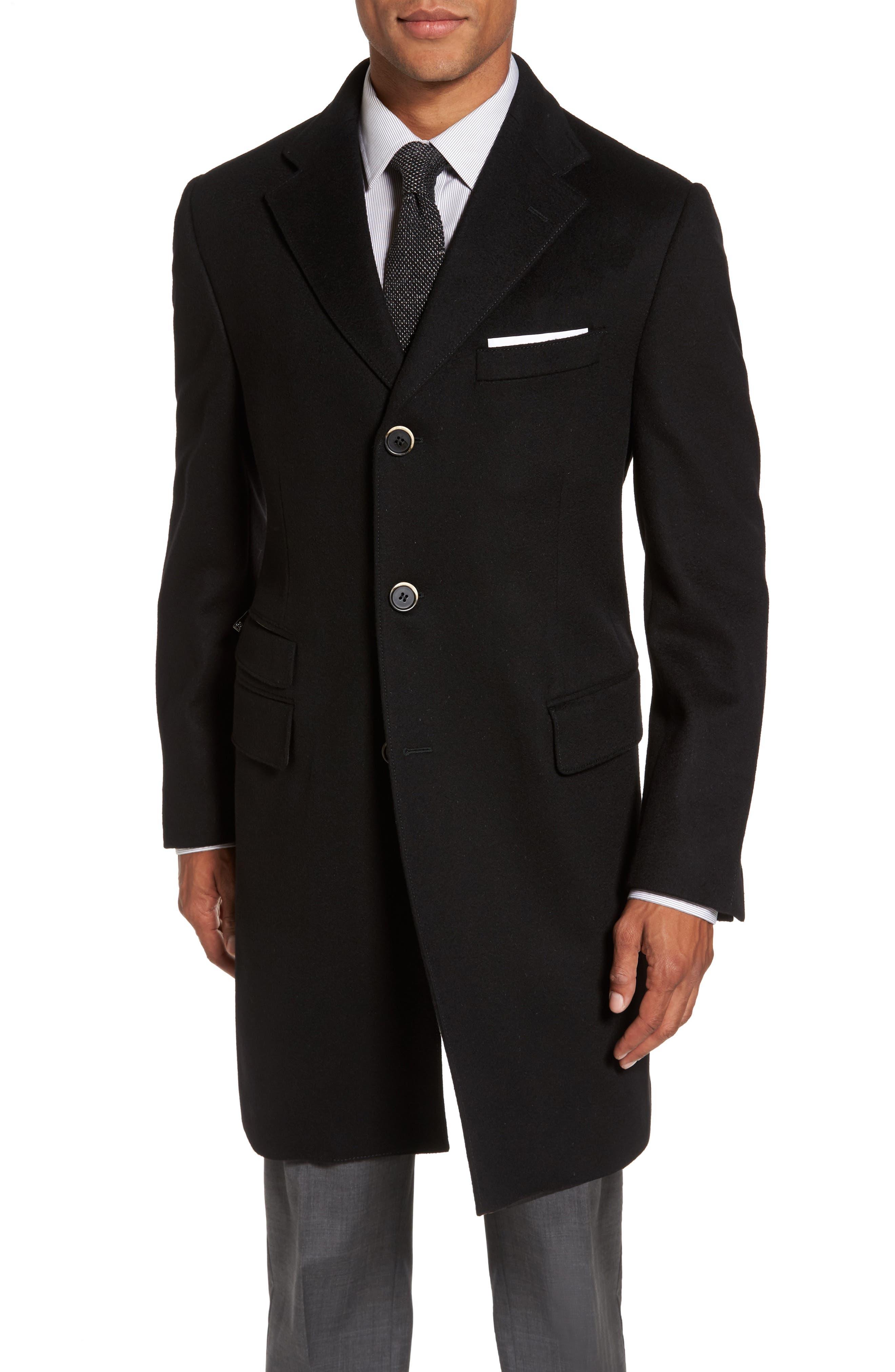 Classic Fit Wool Overcoat,                             Alternate thumbnail 4, color,                             Black