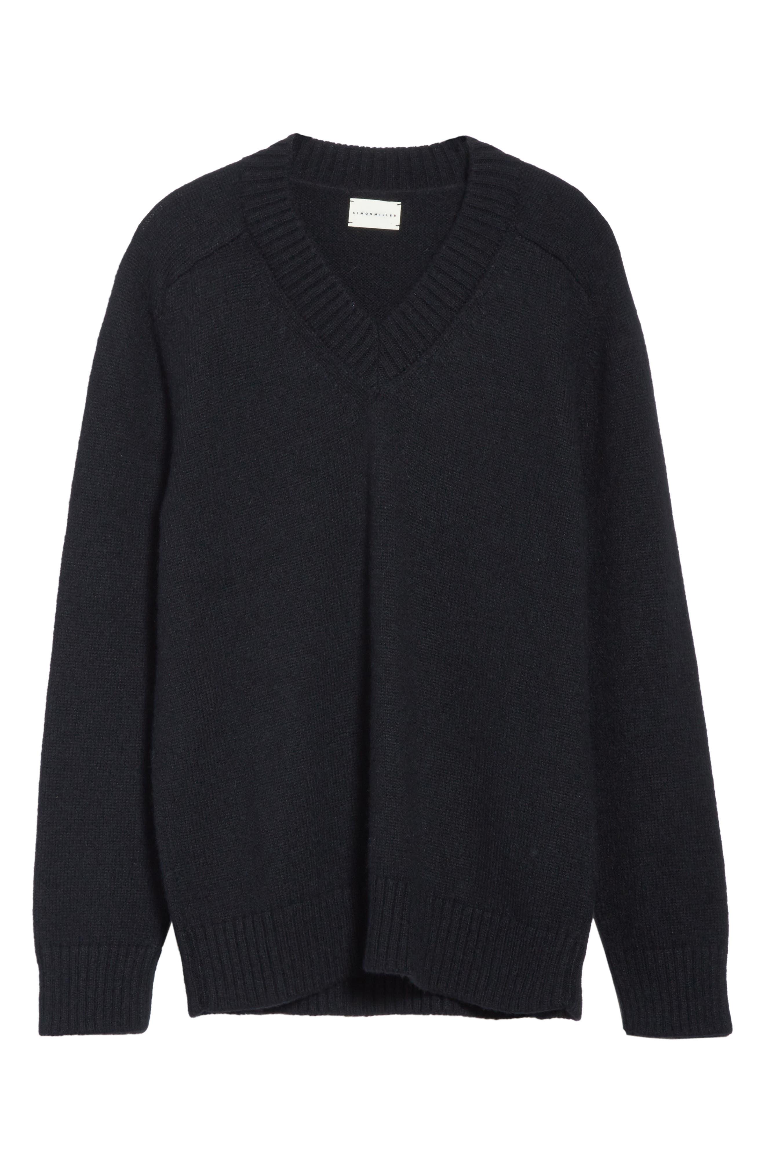 Alpaca Blend V-Neck Sweater,                             Alternate thumbnail 6, color,                             Black