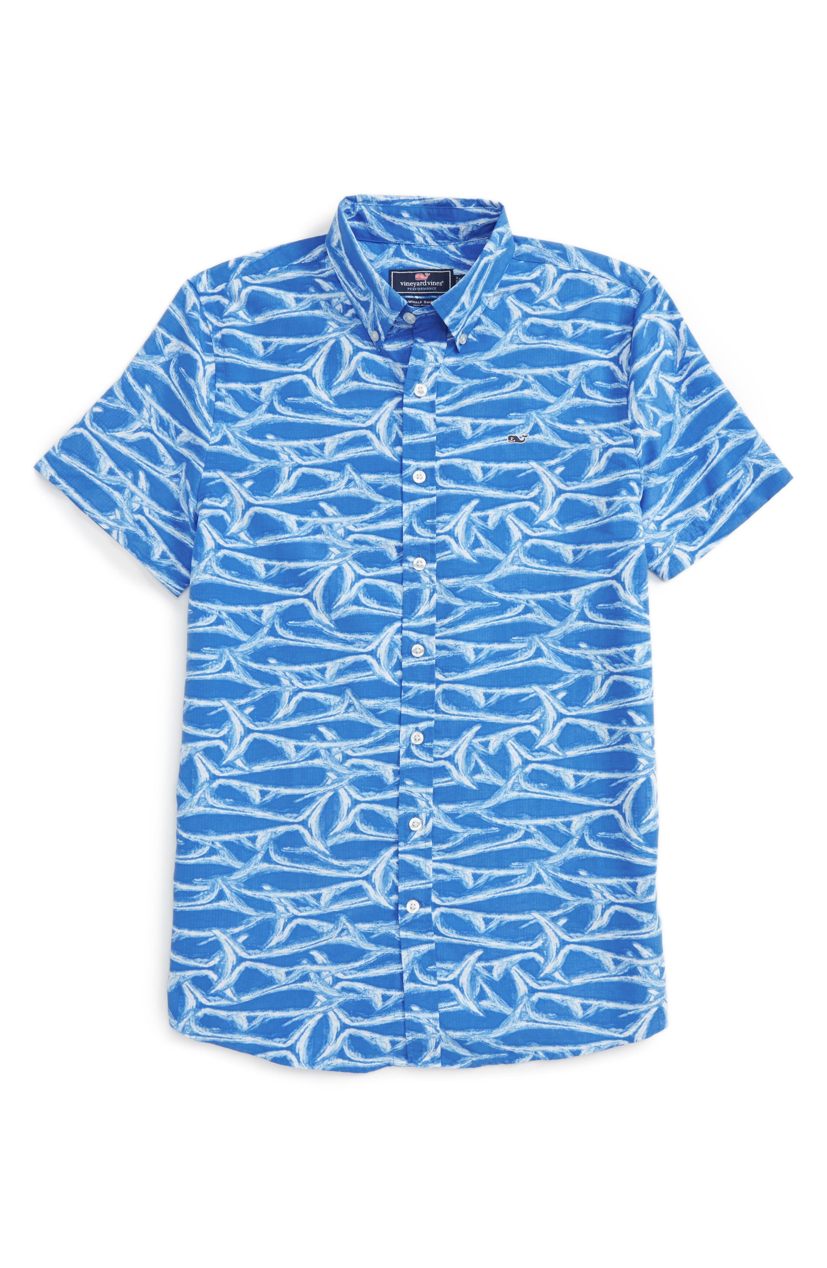 Alternate Image 1 Selected - vineyard vines Brushed Marlin Whale Shirt (Big Boys)