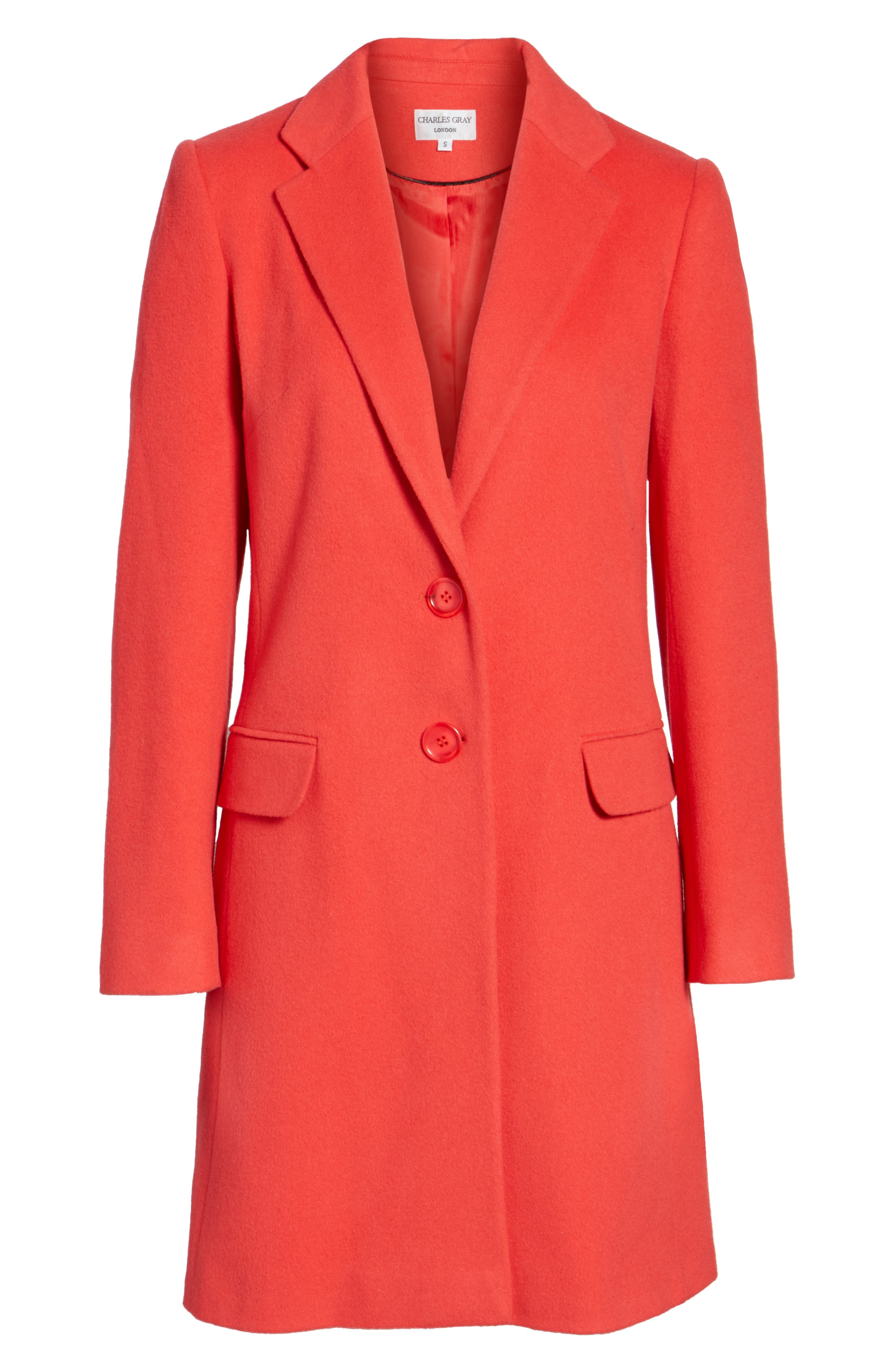 Charles Gray London Wool Blend College Coat,                             Alternate thumbnail 7, color,                             Coral