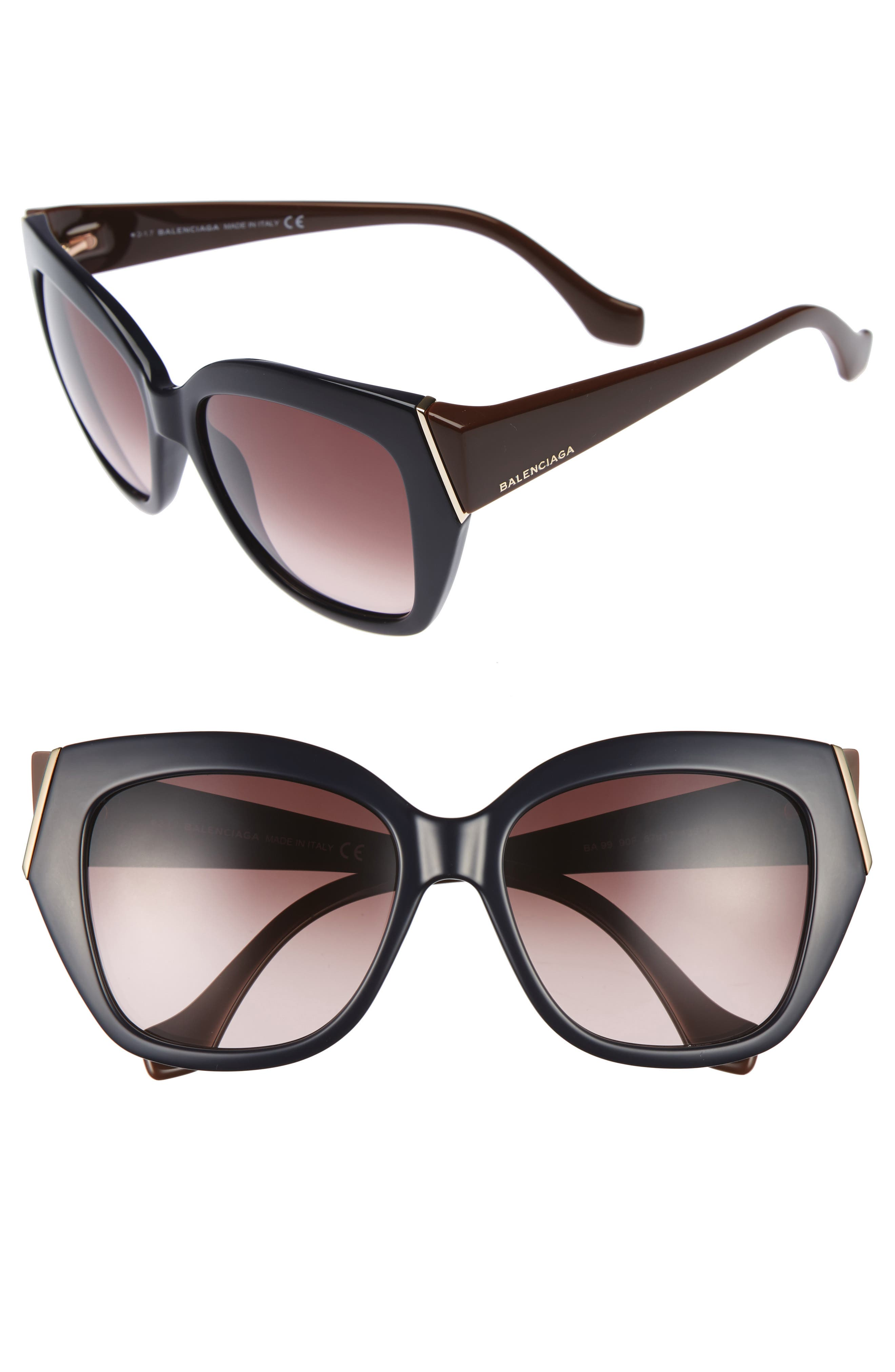 57mm Cat Eye Sunglasses,                         Main,                         color, Shiny Blue/ Gradient Brown