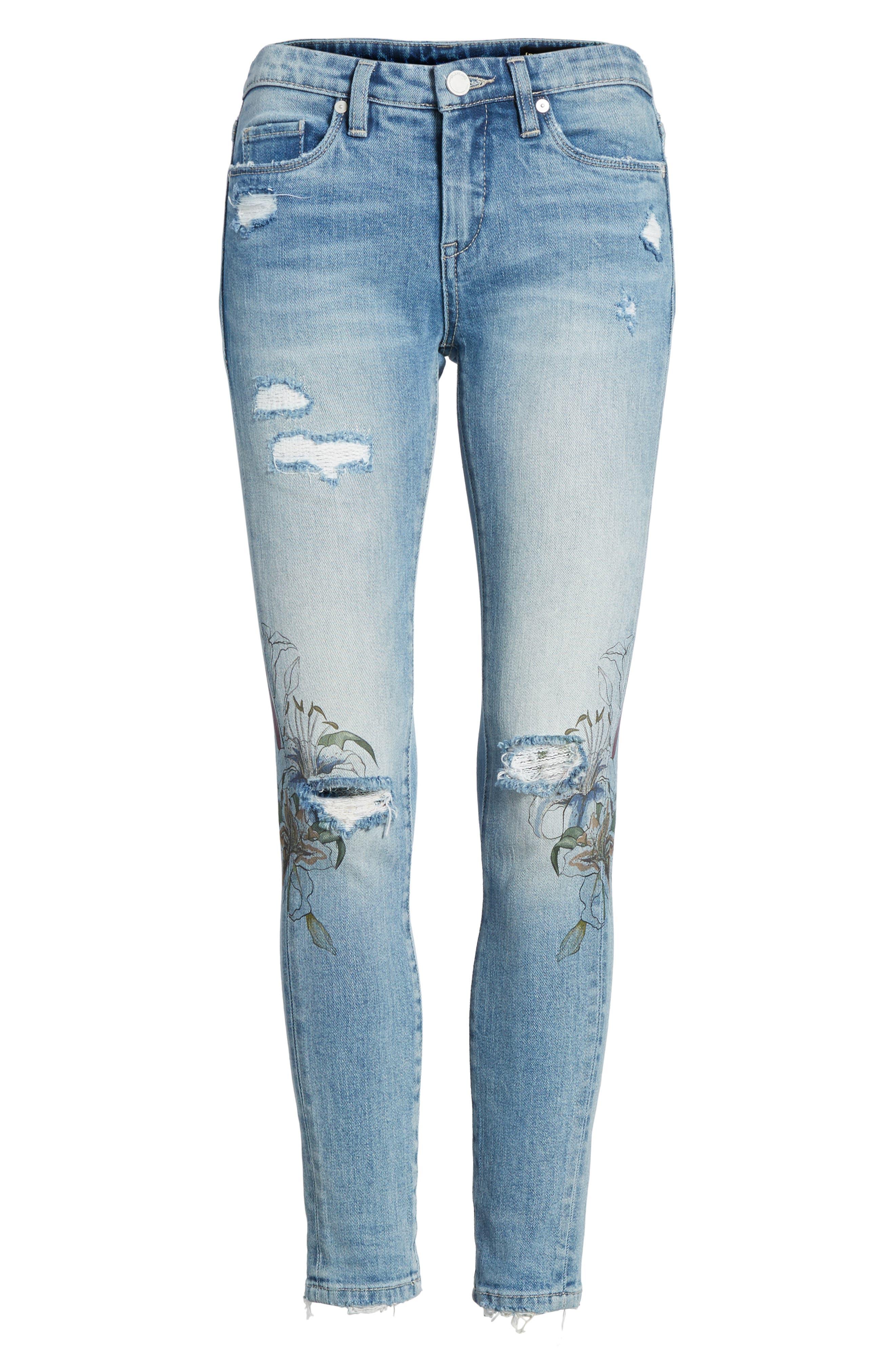Alternate Image 7  - BLANKNYC Print Ripped Skinny Jeans (Goin Digital)