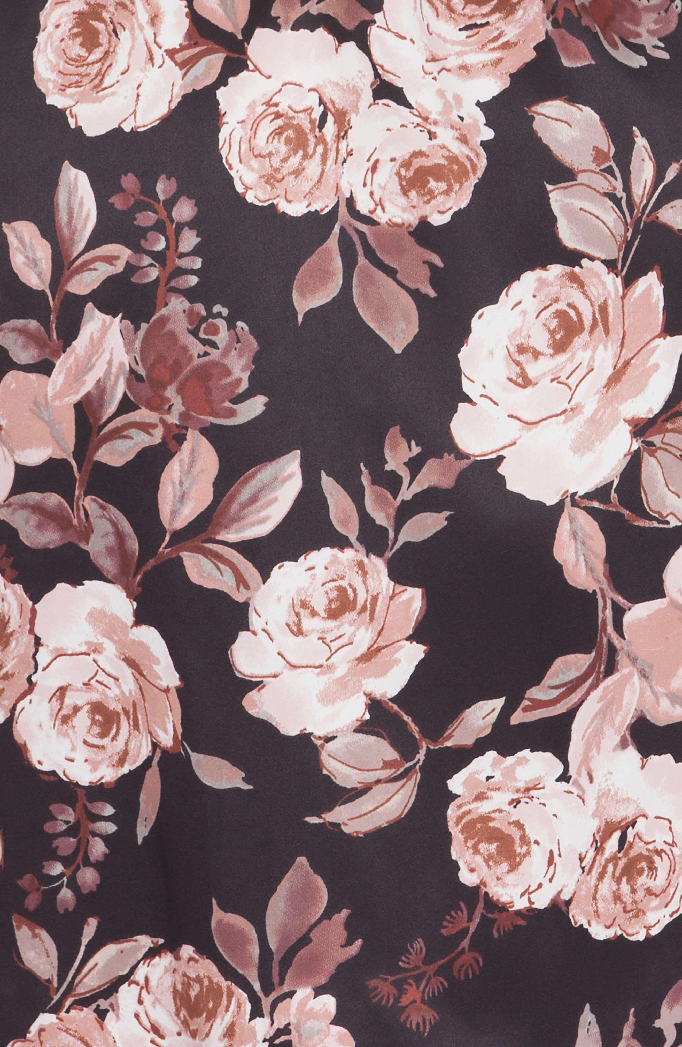 Floral Print Kimono Robe,                             Alternate thumbnail 4, color,                             Black Ground Rose Floral Print