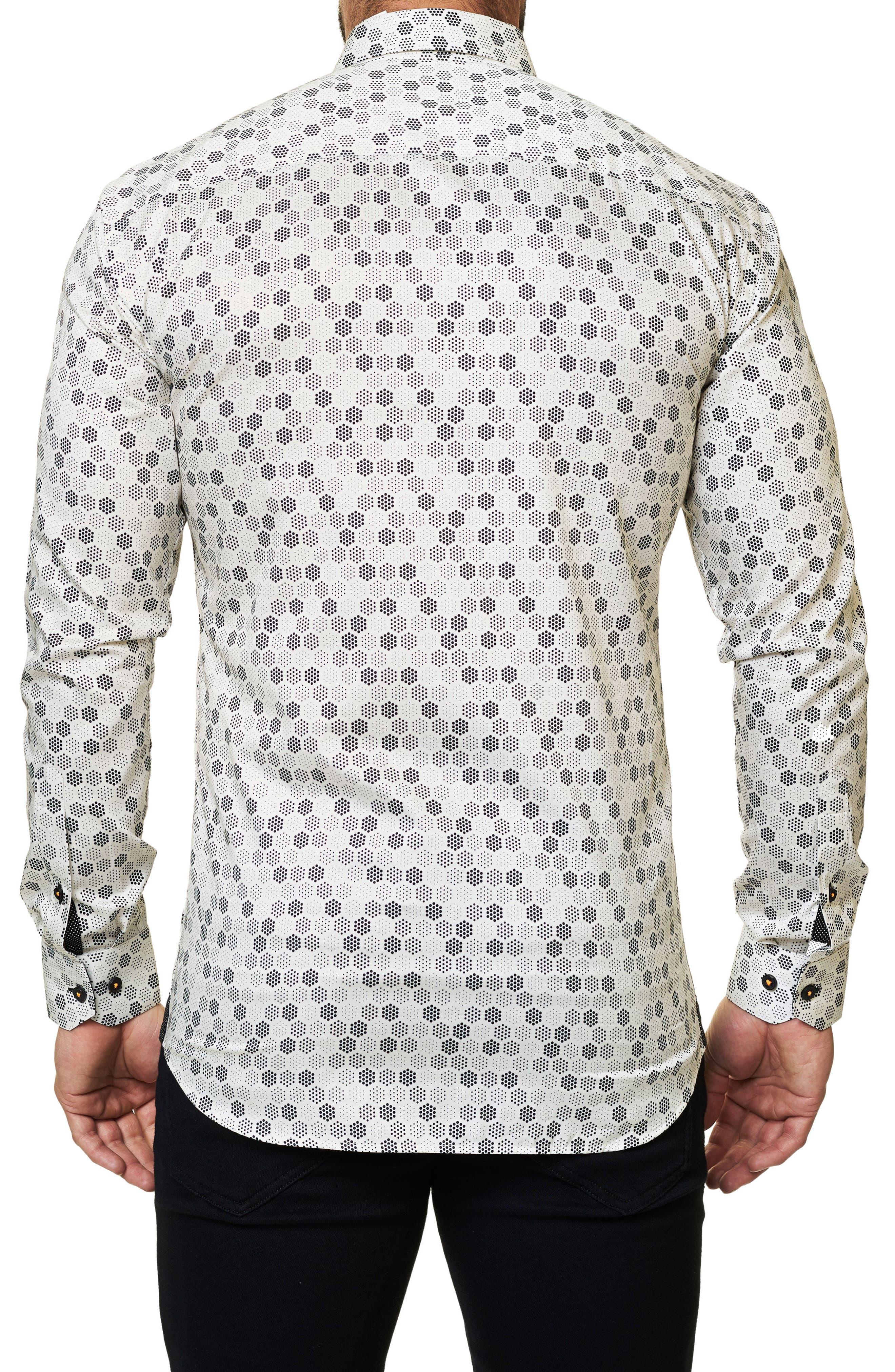 Trim Fit Geo Print Sport Shirt,                             Alternate thumbnail 2, color,                             White