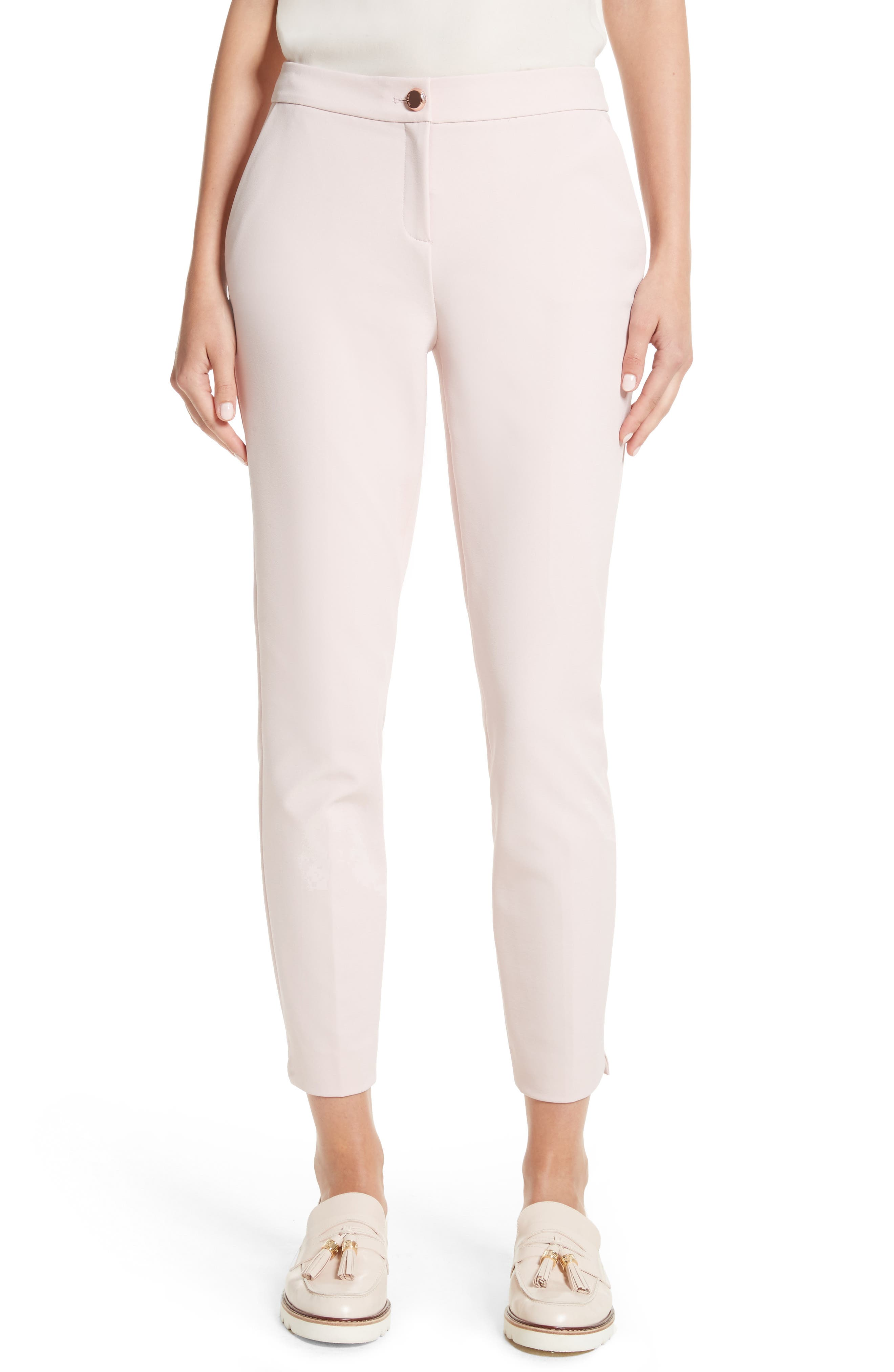 Suria Tailored Ankle Grazer Trousers,                         Main,                         color, Pale Pink