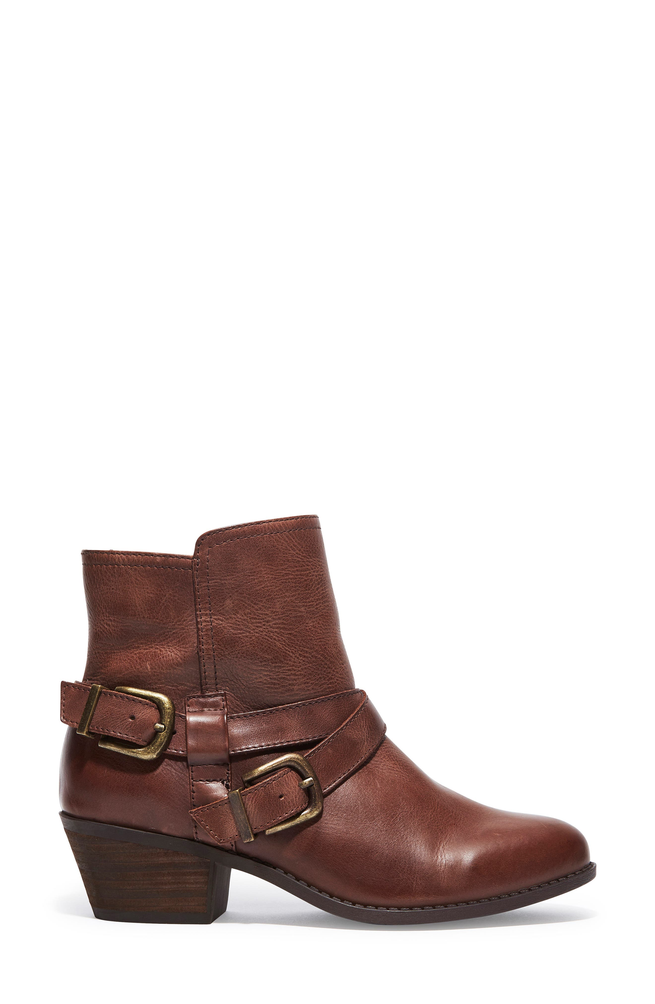 Zuri Buckle Boot,                             Alternate thumbnail 3, color,                             Chocolate Leather
