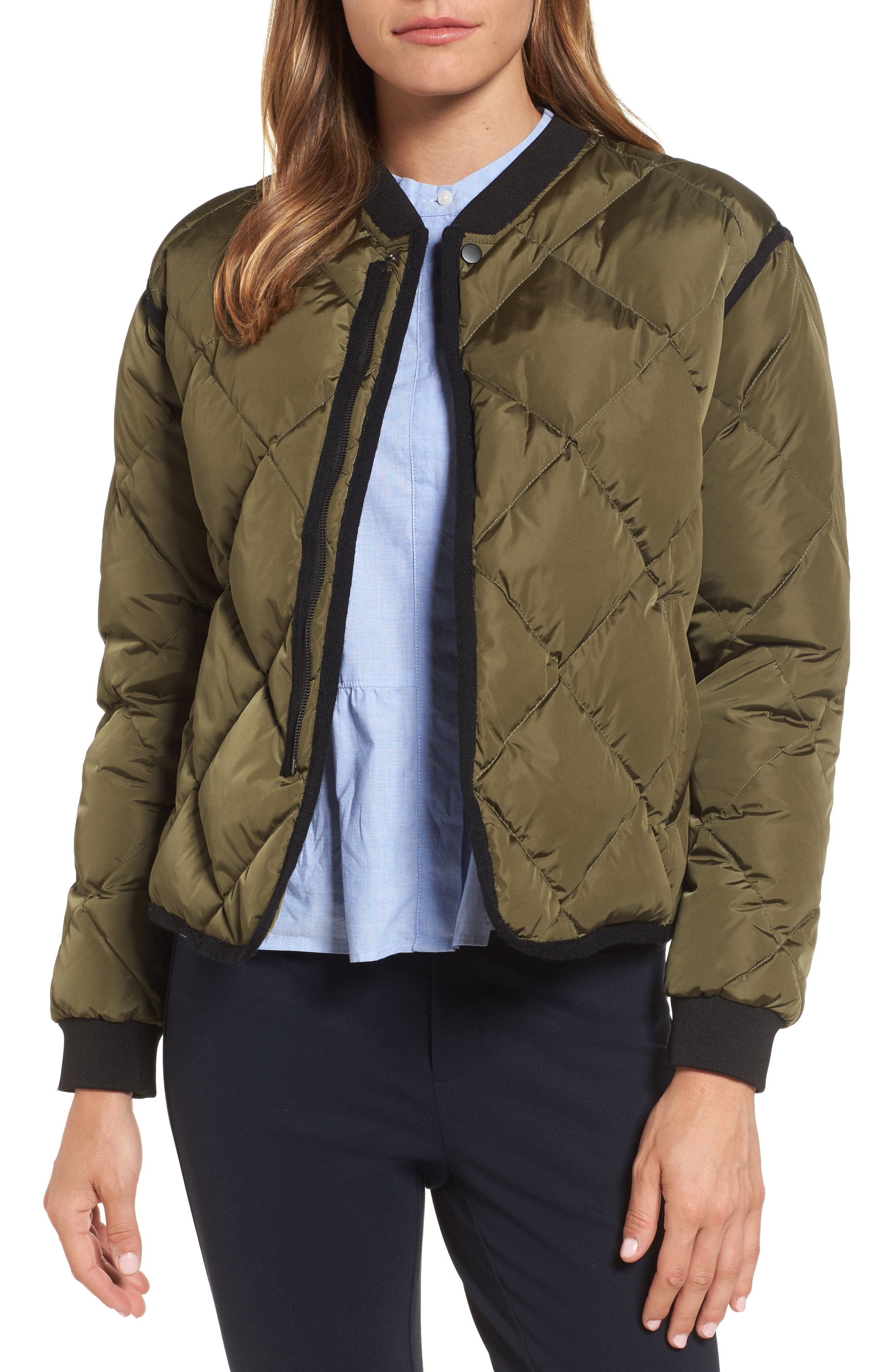 Main Image - Nordstrom Signature Quilted Bomber Jacket