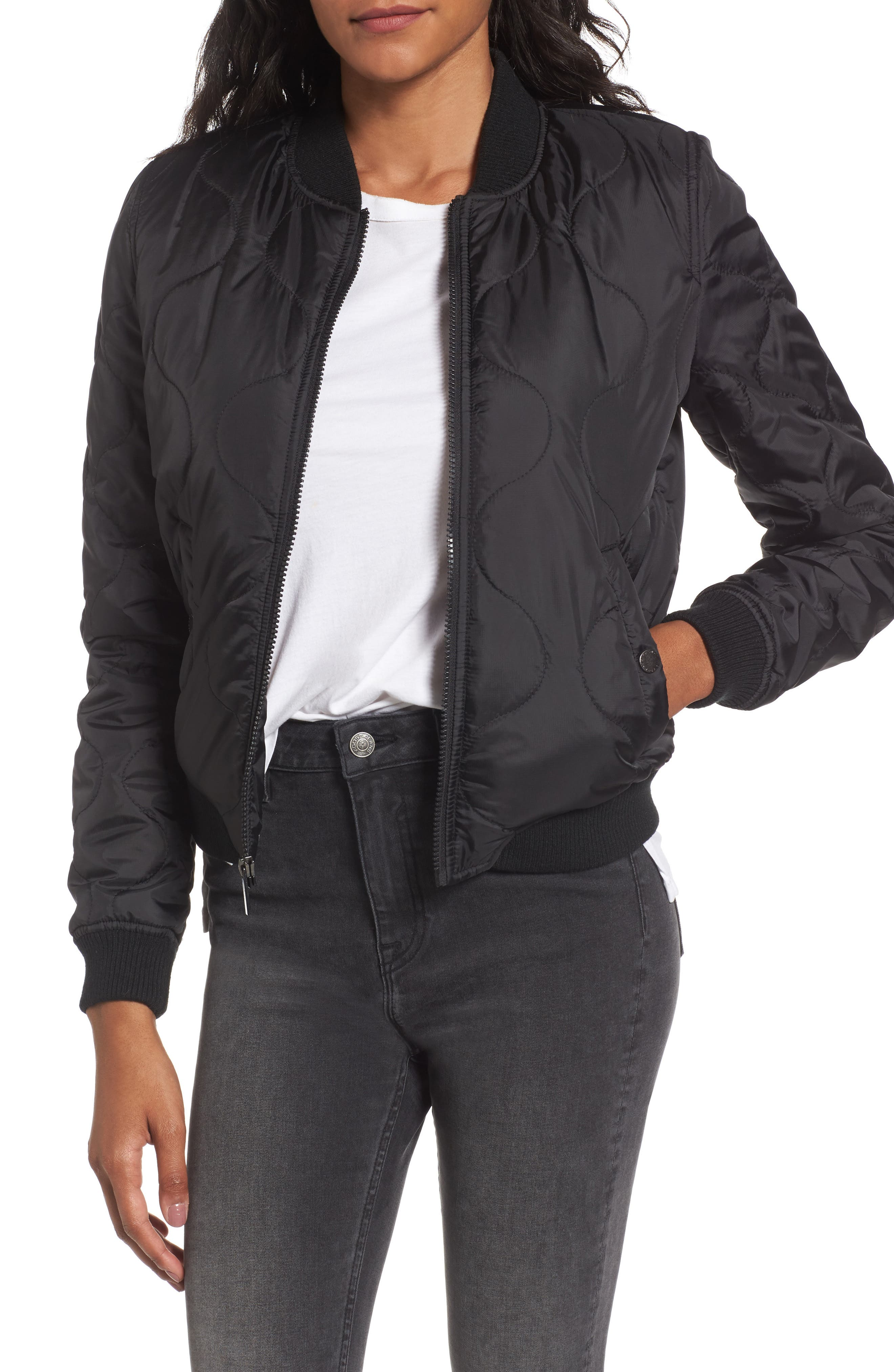 French Connection Cropped Quilted Bomber Jacket