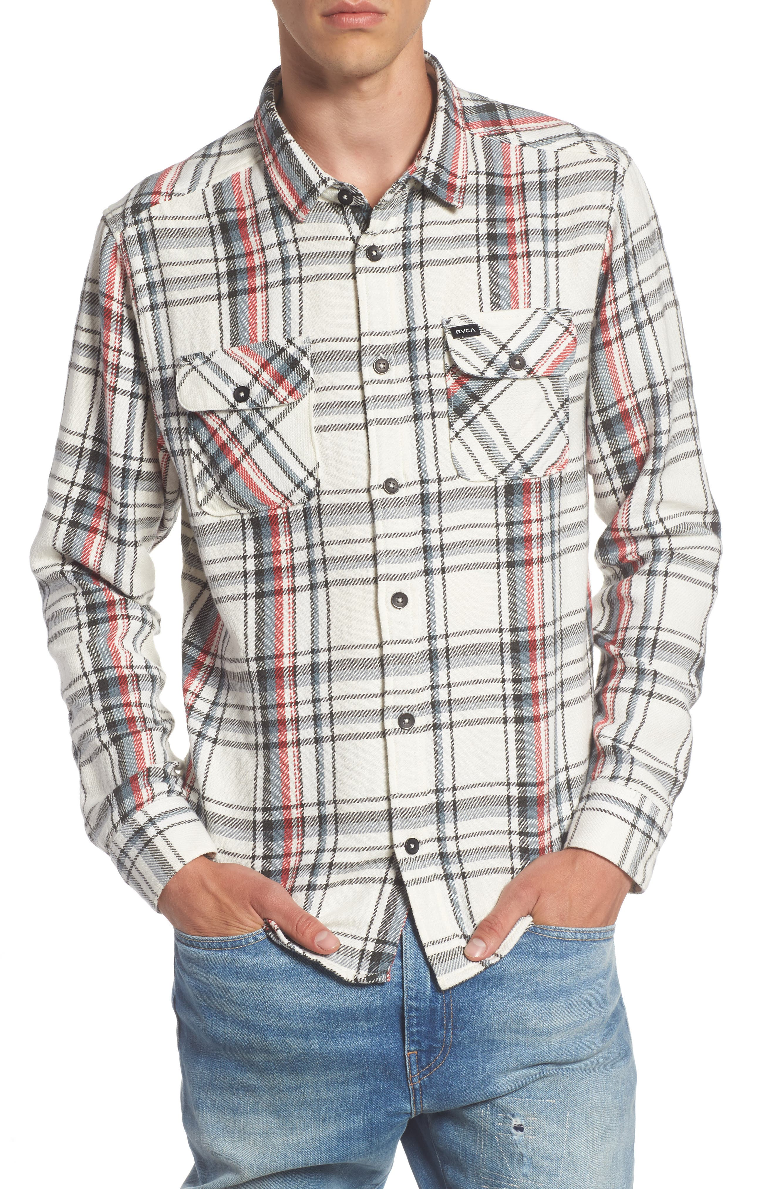 Alternate Image 1 Selected - RVCA Camino Plaid Flannel Shirt