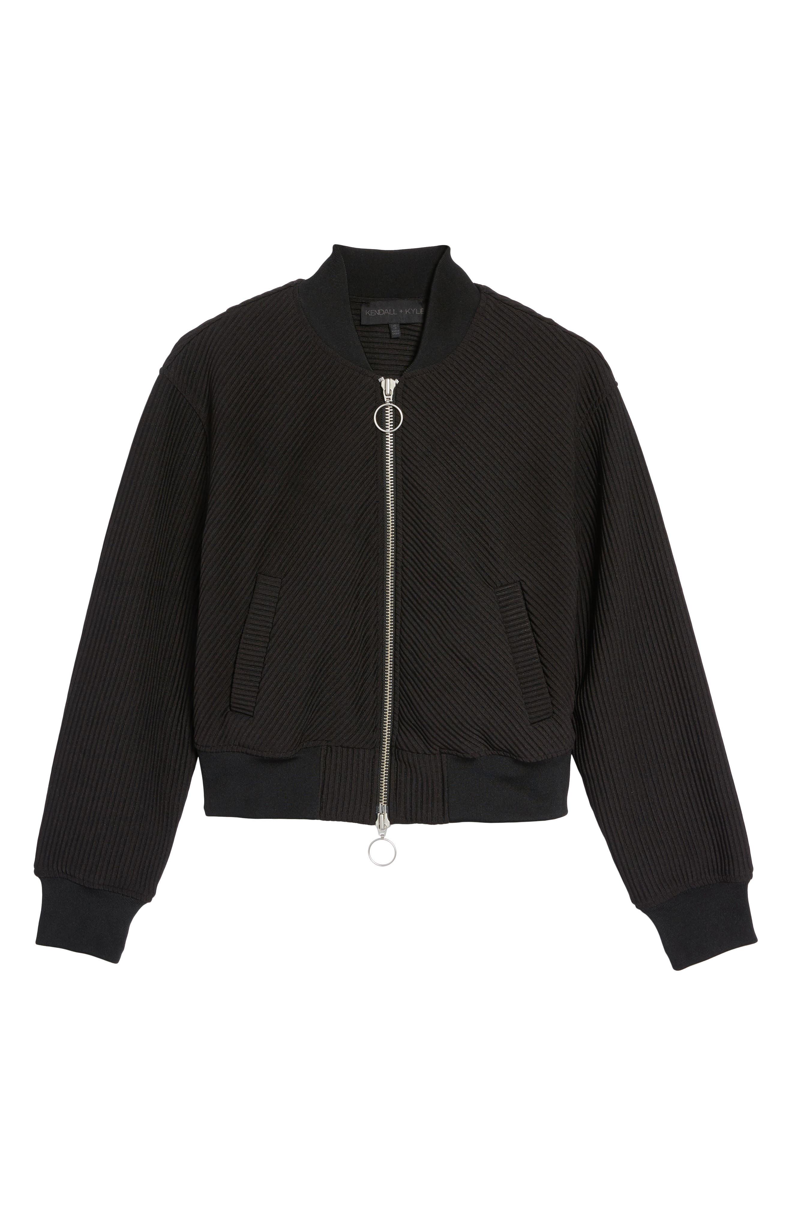 Ribbed Track Jacket,                             Alternate thumbnail 6, color,                             Black