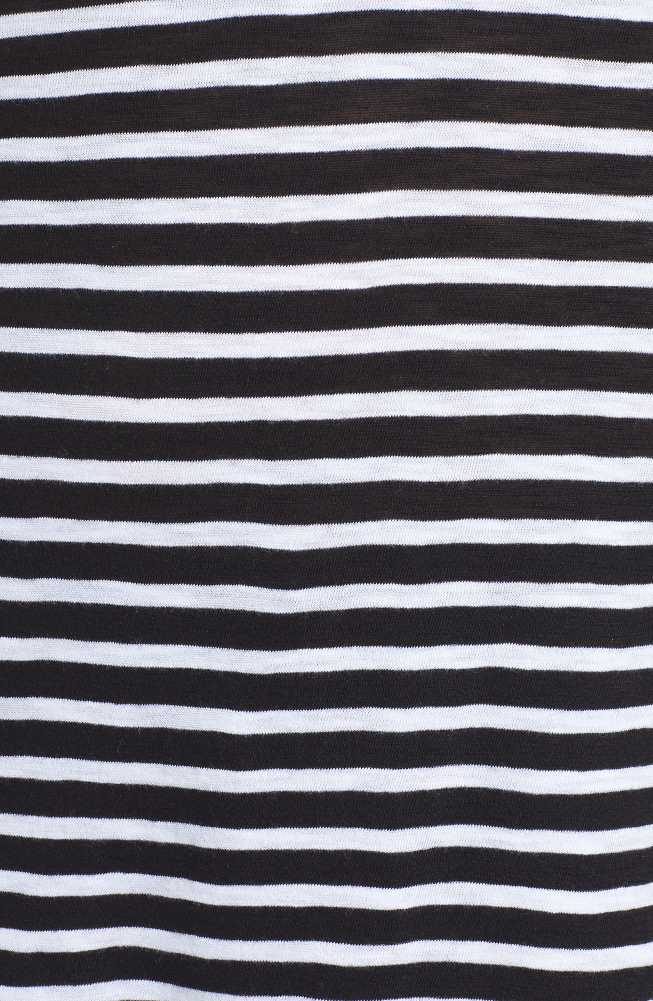Long Sleeve Crewneck Tee,                             Alternate thumbnail 32, color,                             Black- White Maisie Stripe
