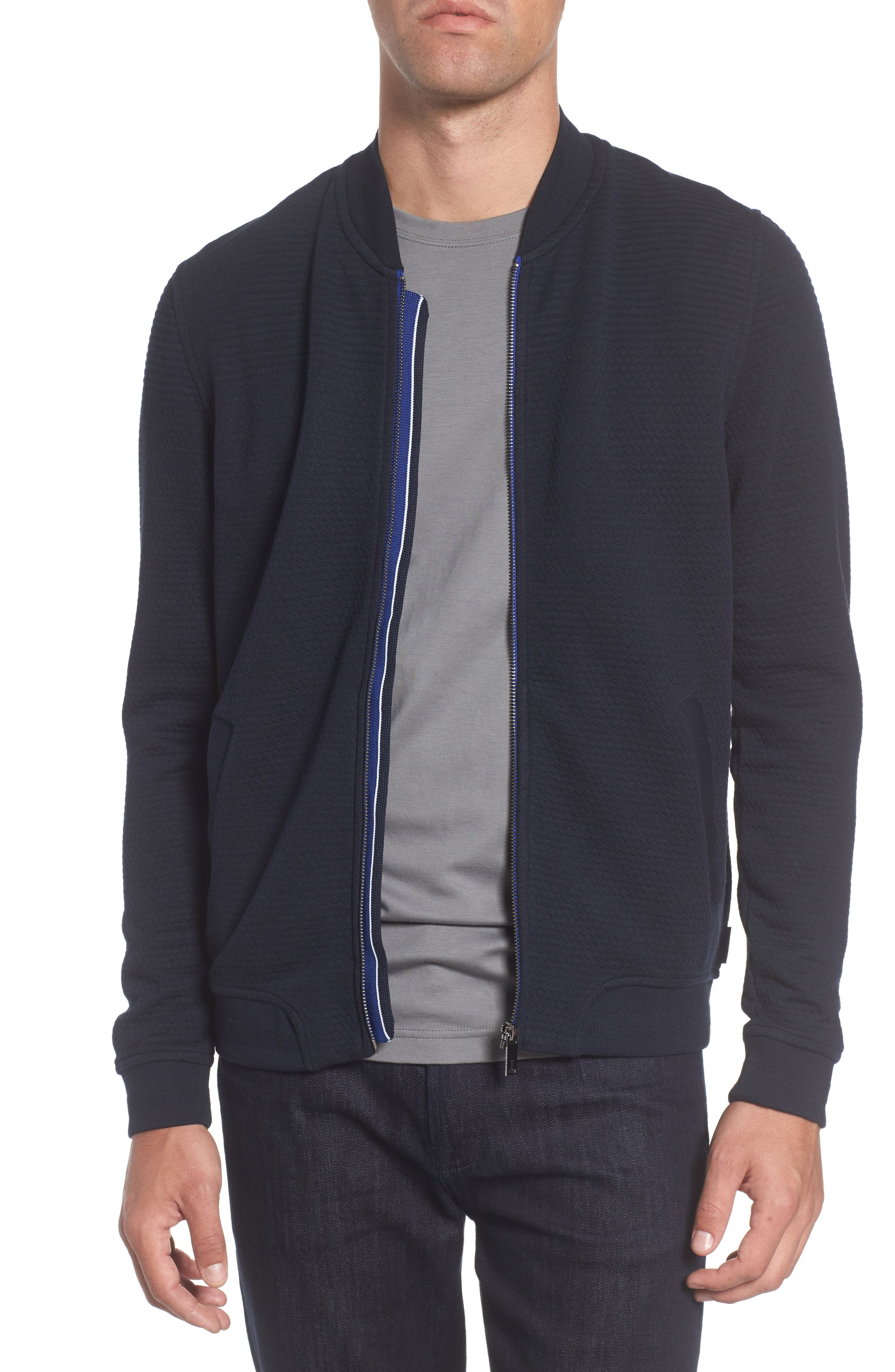 Clive Quilted Jersey Bomber Jacket,                         Main,                         color, Navy