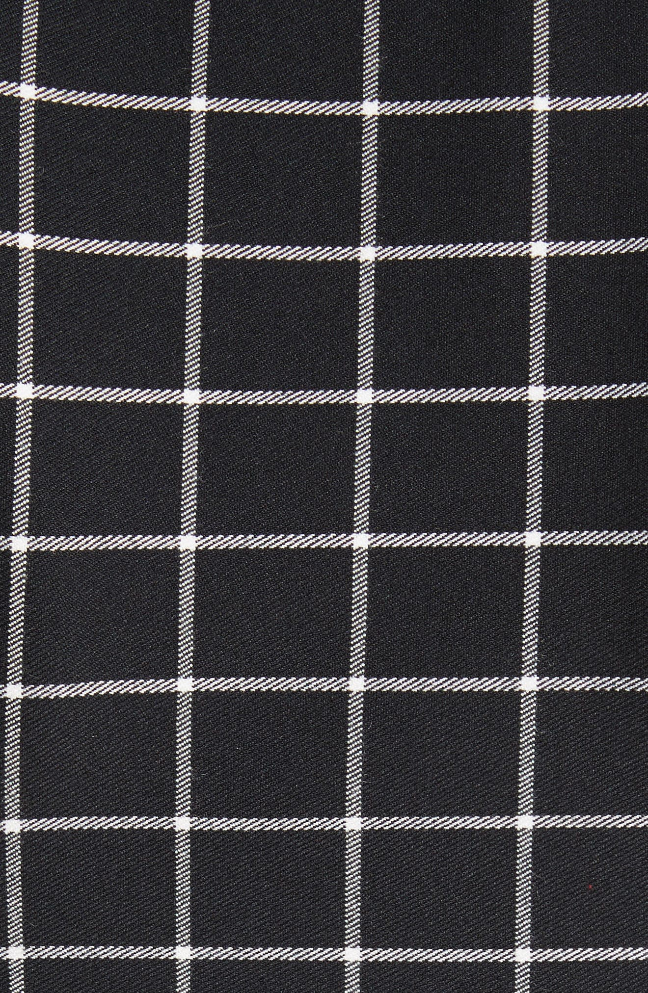 Windowpane Print Cold Shoulder Top,                             Alternate thumbnail 5, color,                             Black/ White Plaid