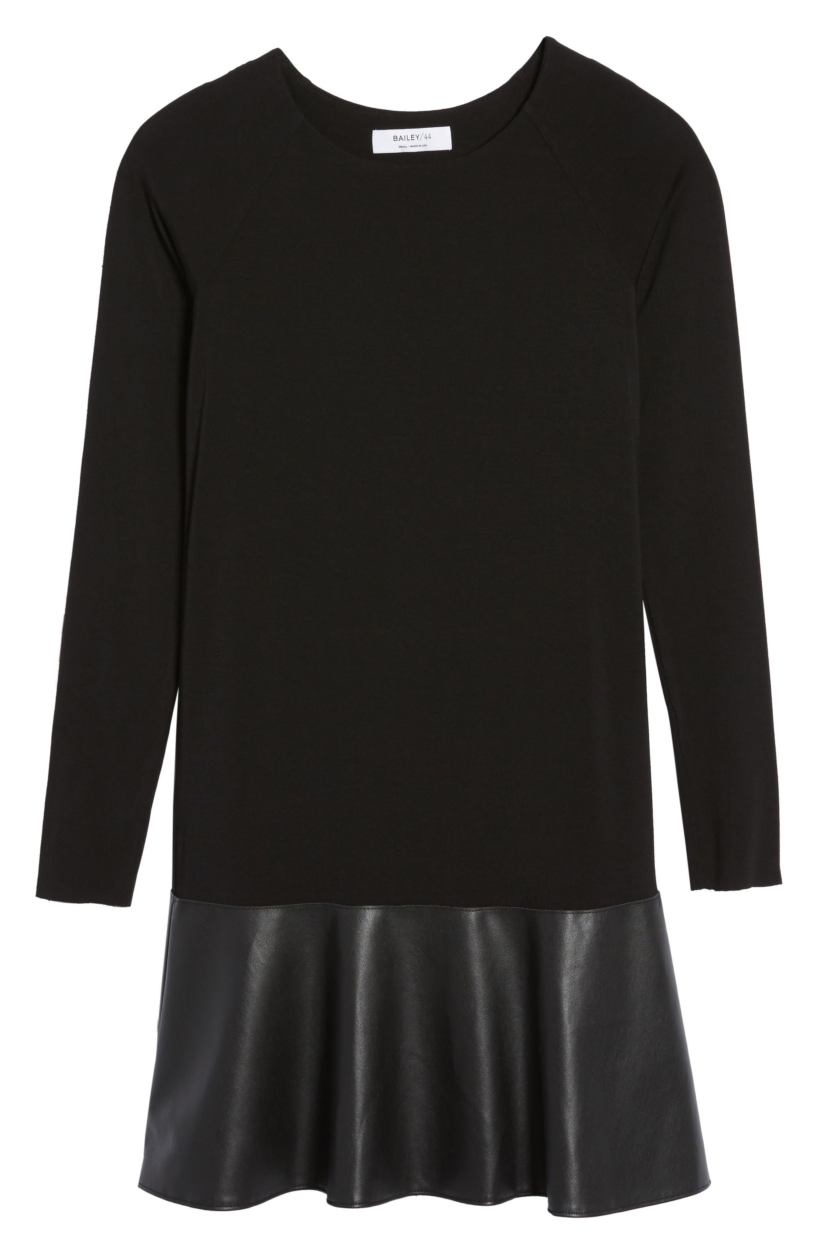 Georgina Faux Leather & Jersey Dress,                             Alternate thumbnail 6, color,                             Black