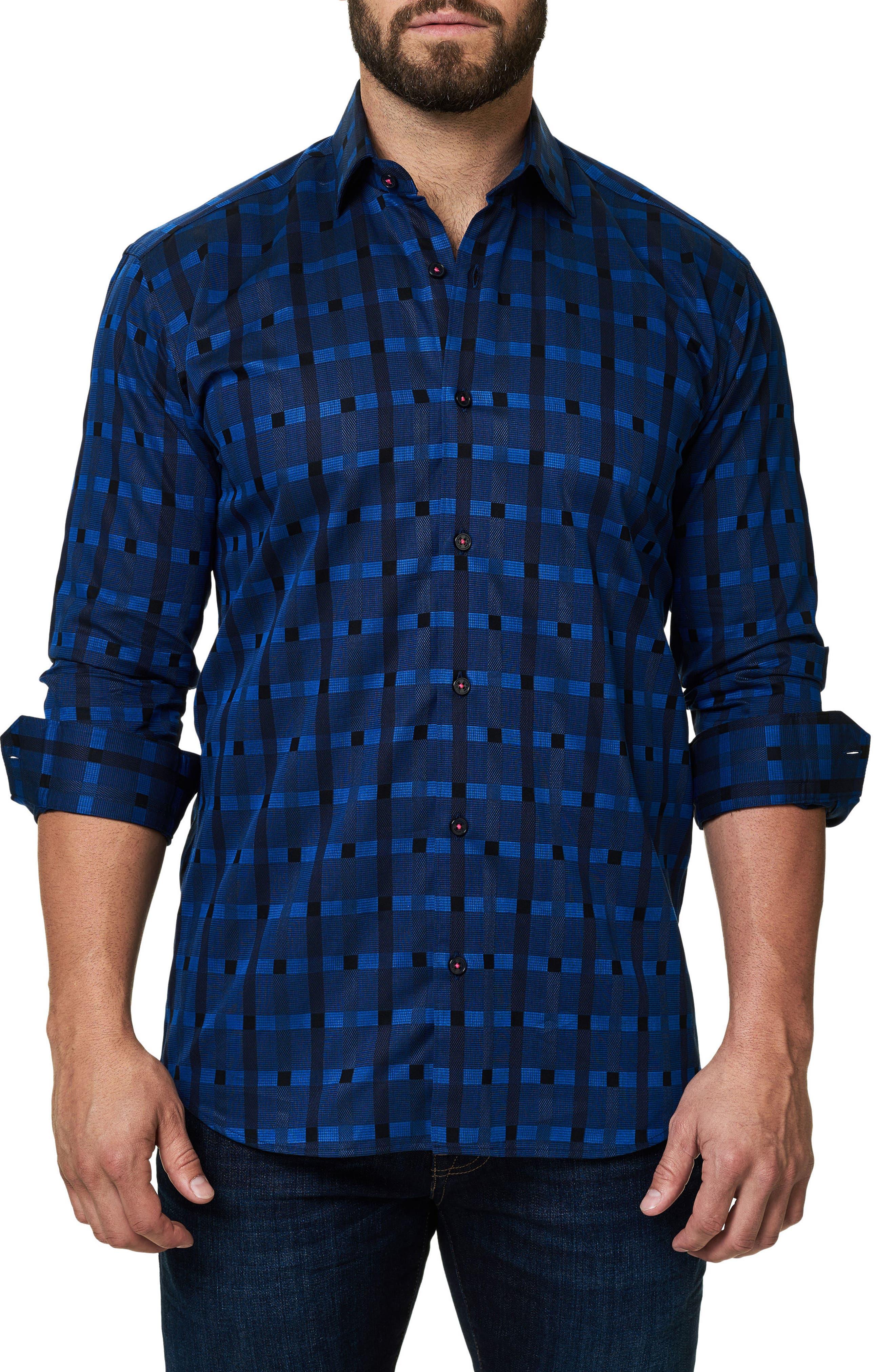 Trim Fit Print Sport Shirt,                         Main,                         color, Navy