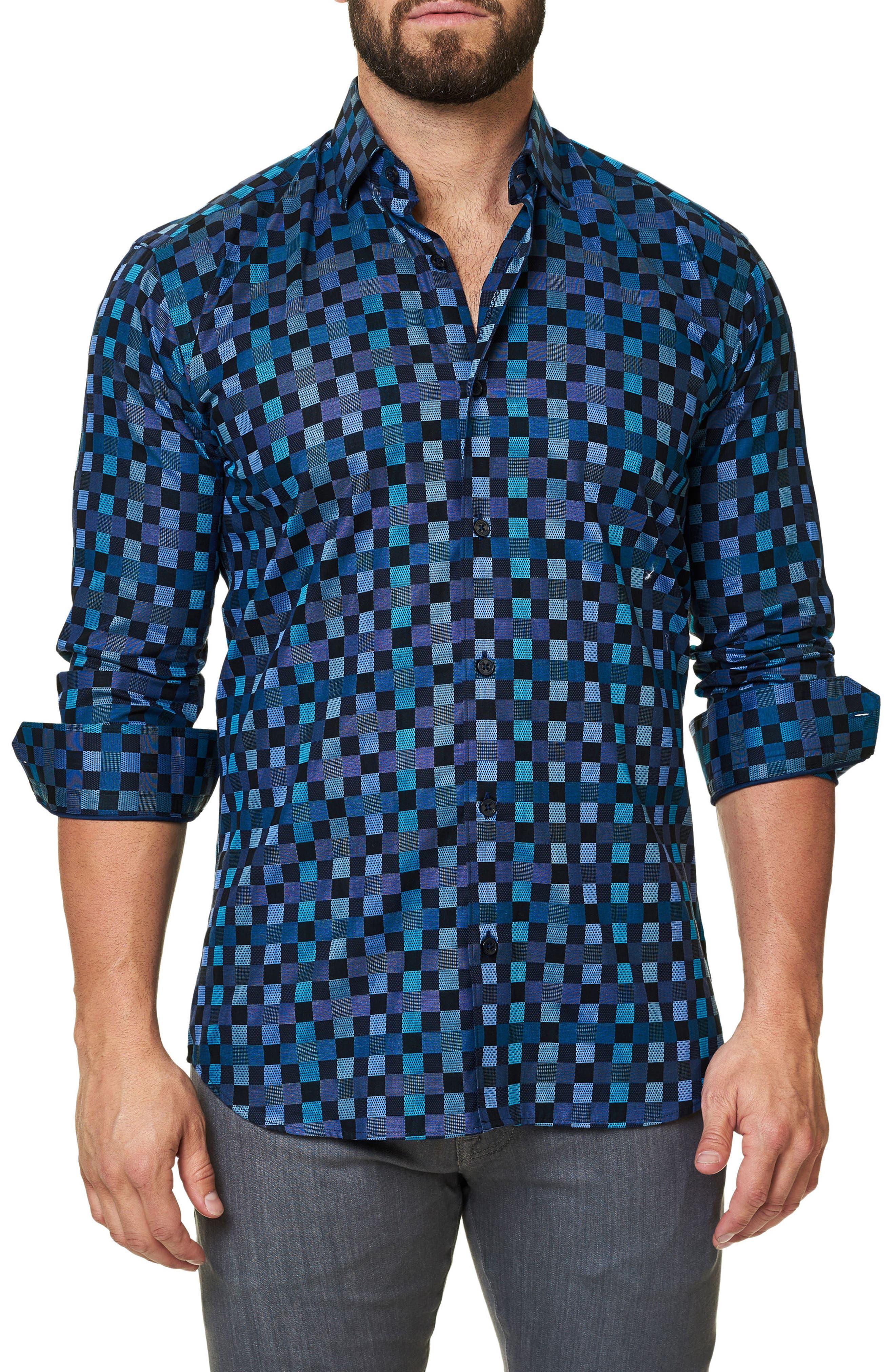 Trim Fit Check Print Sport Shirt,                         Main,                         color, Turquoise