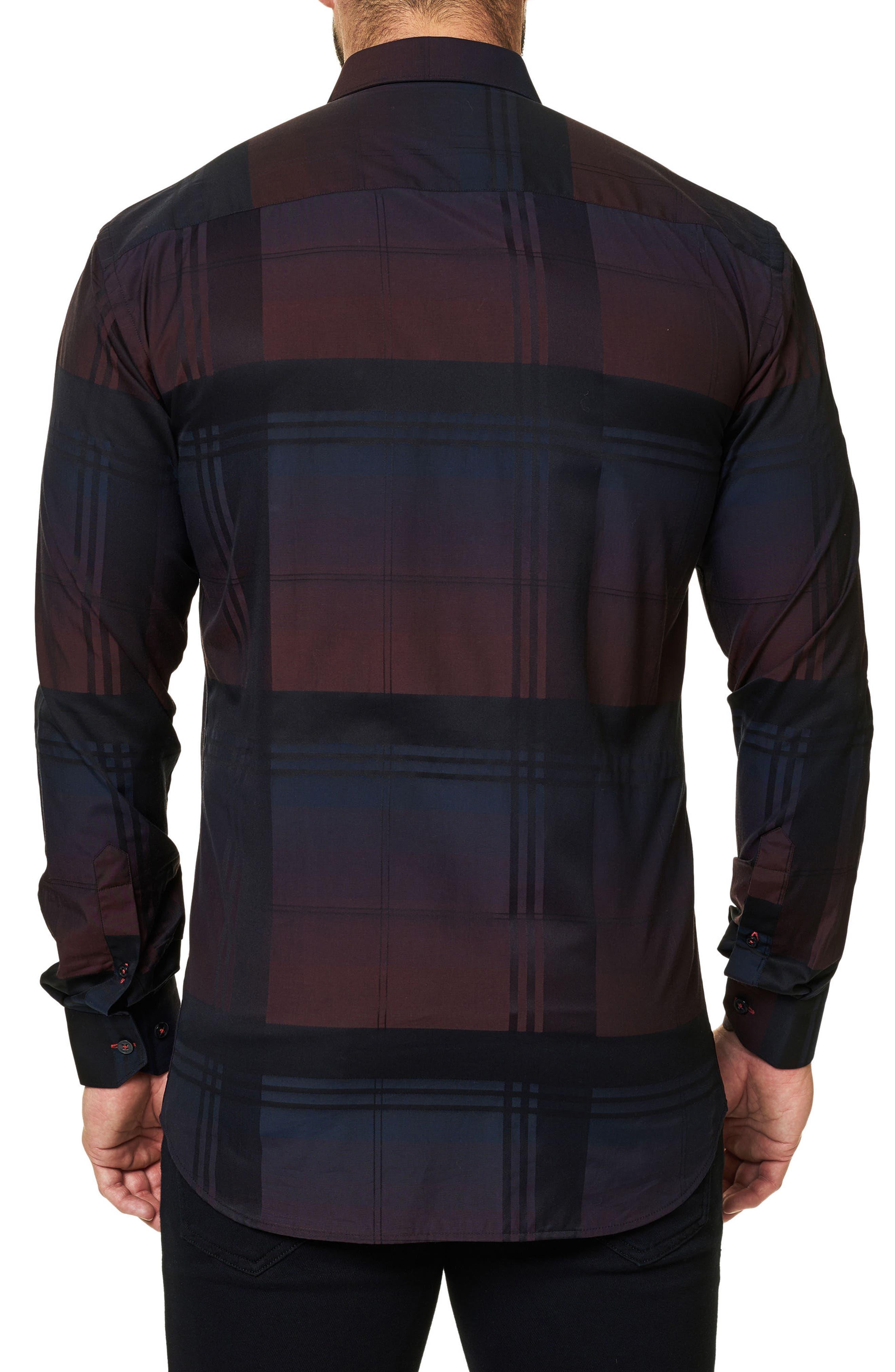 Trim Fit Plaid Sport Shirt,                             Alternate thumbnail 2, color,                             Black