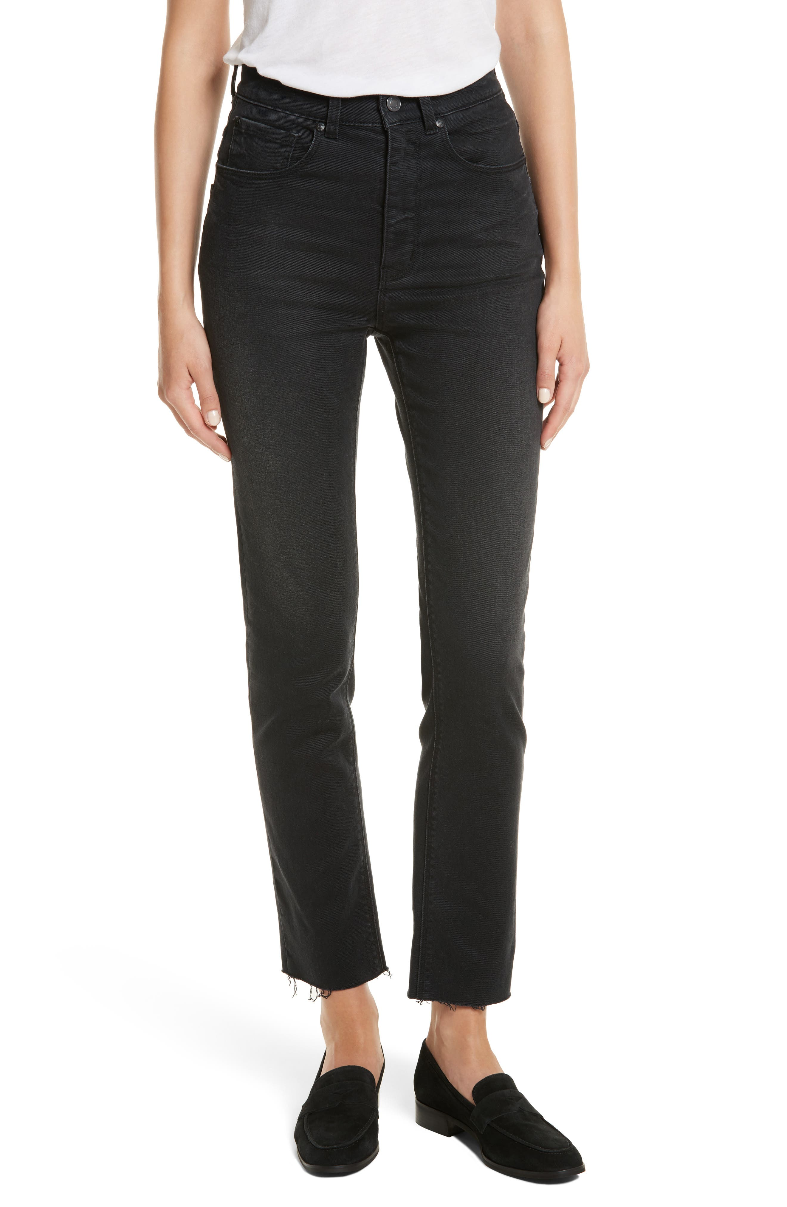 Rebecca Taylor Ines Crop High Waist Skinny Jeans (Charcoal)