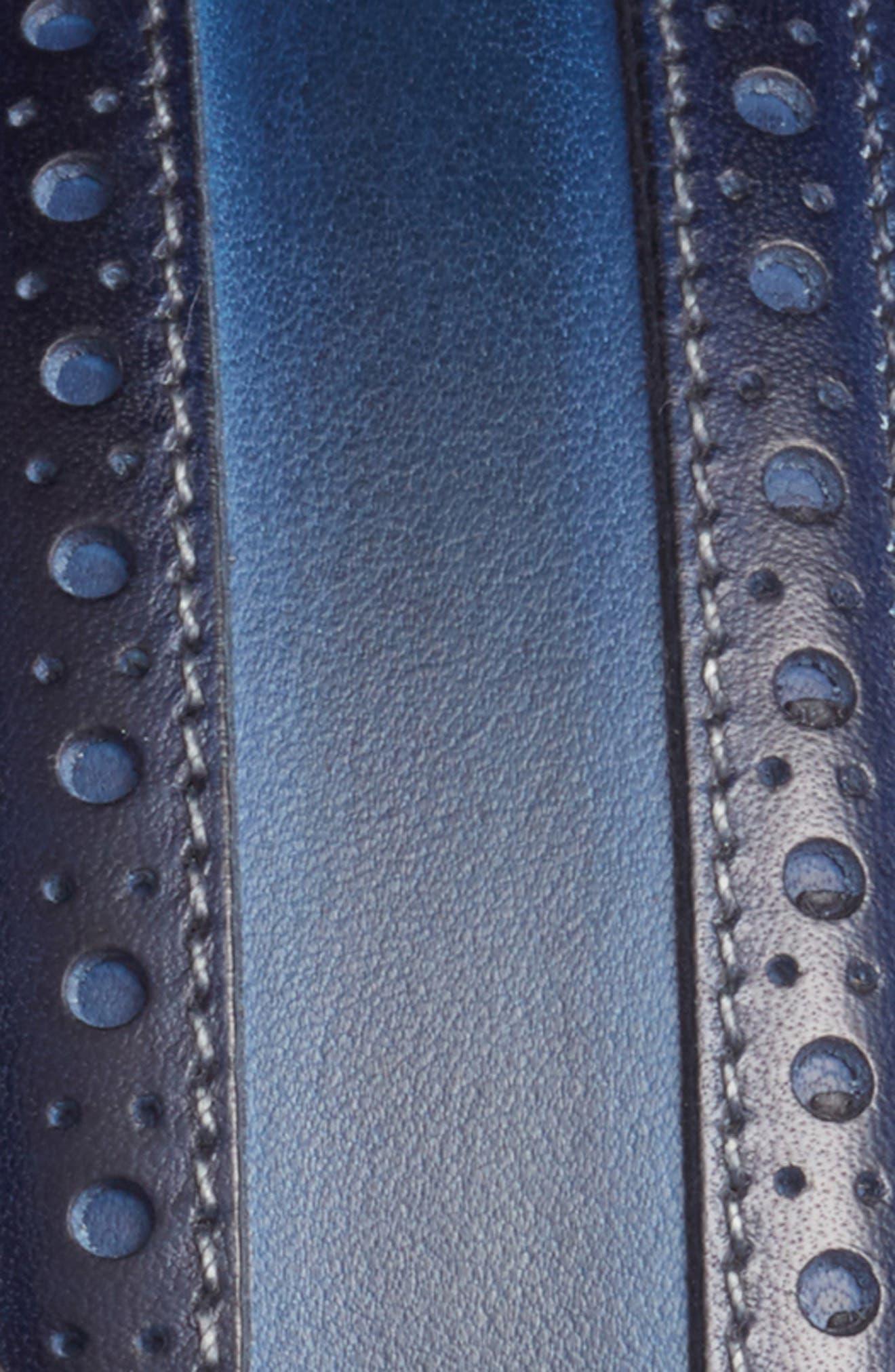 Leather Belt,                             Alternate thumbnail 2, color,                             Med Blue