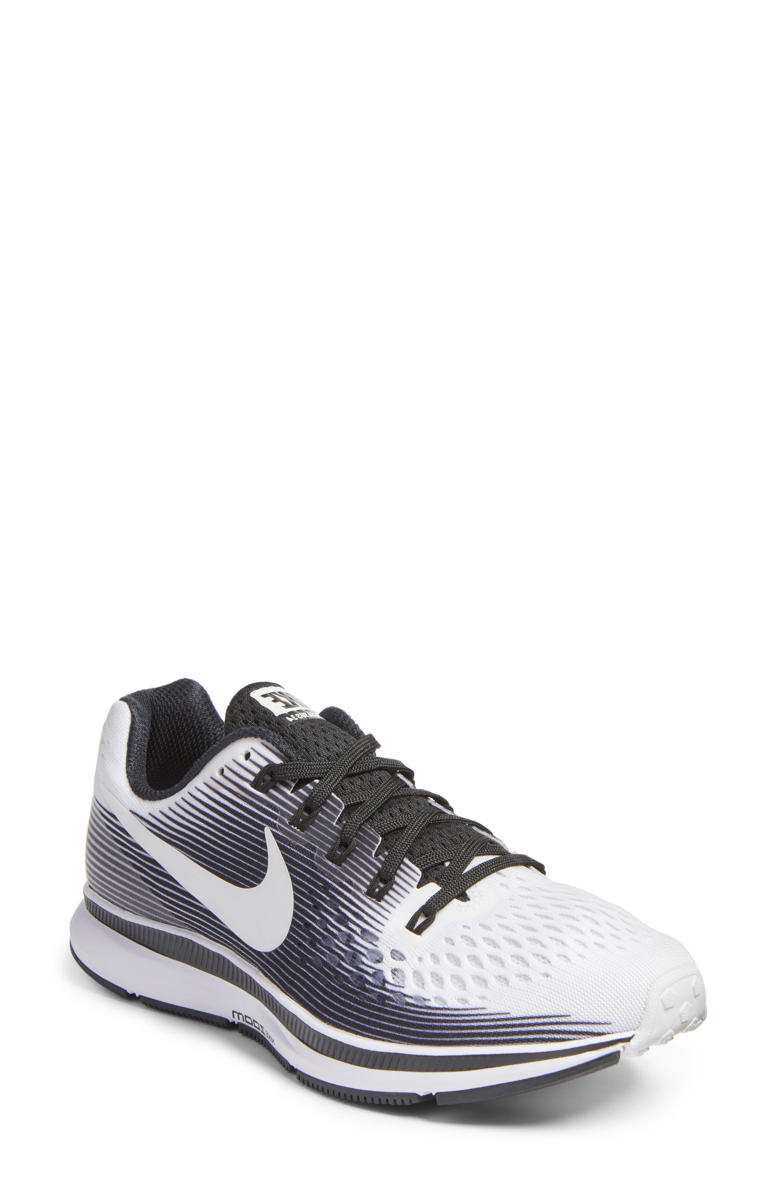 Air Zoom Pegasus 34 LE Running Shoe,                             Main thumbnail 1, color,                             White/ White/ Black