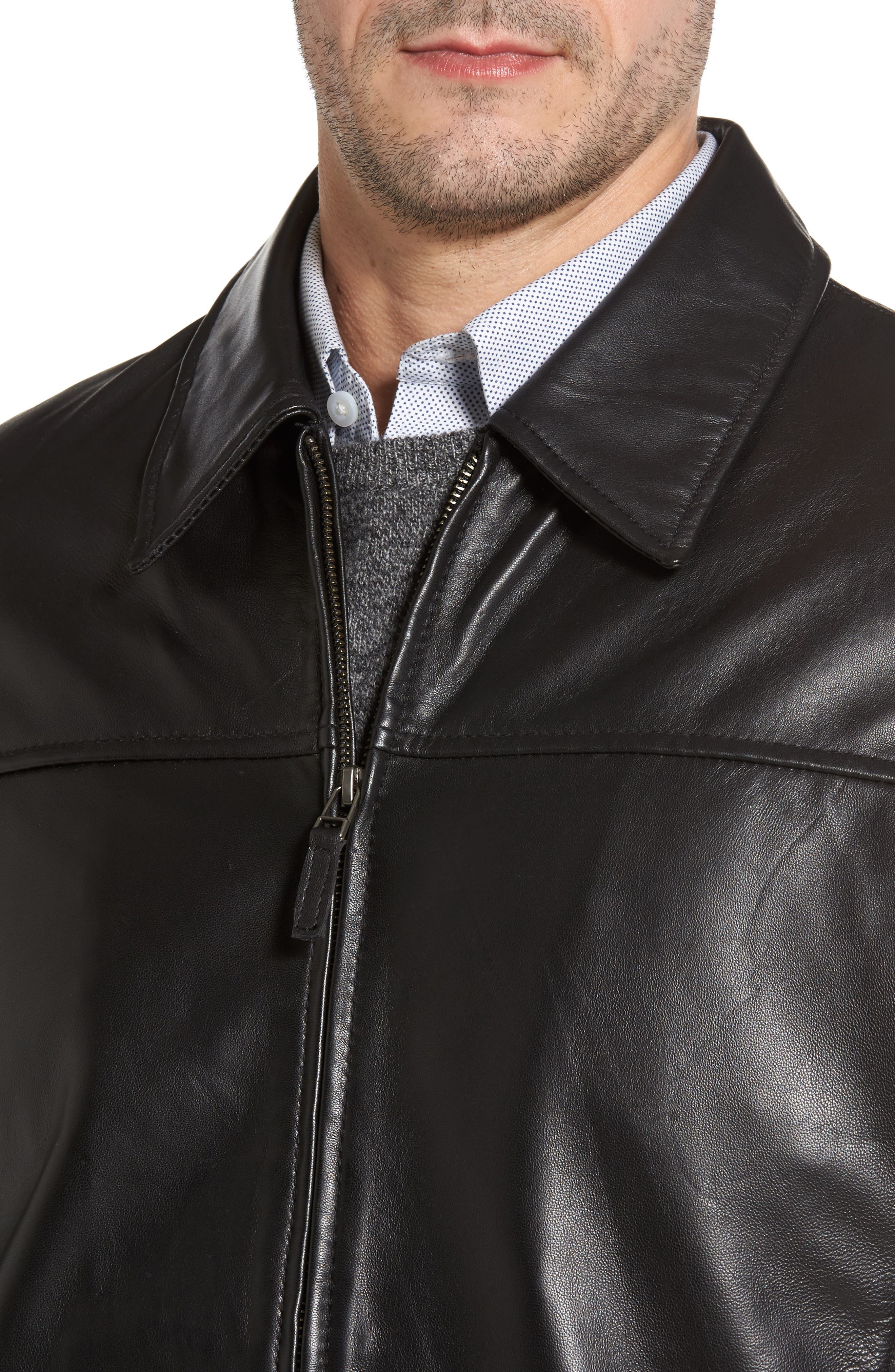 Collared Leather Jacket,                             Alternate thumbnail 4, color,                             Black