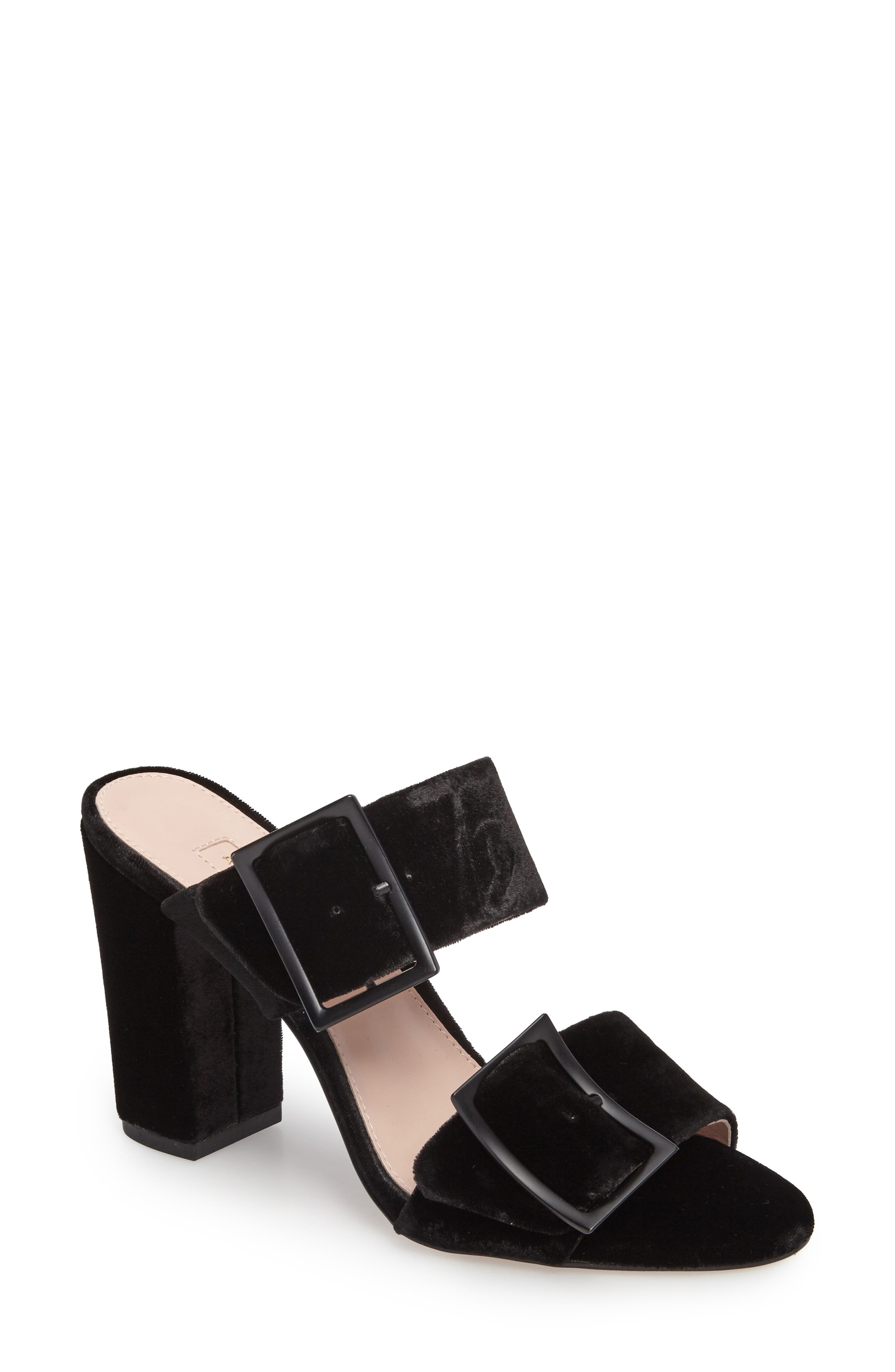 Millie Buckle Strap Sandal,                             Main thumbnail 1, color,                             Black Fabric