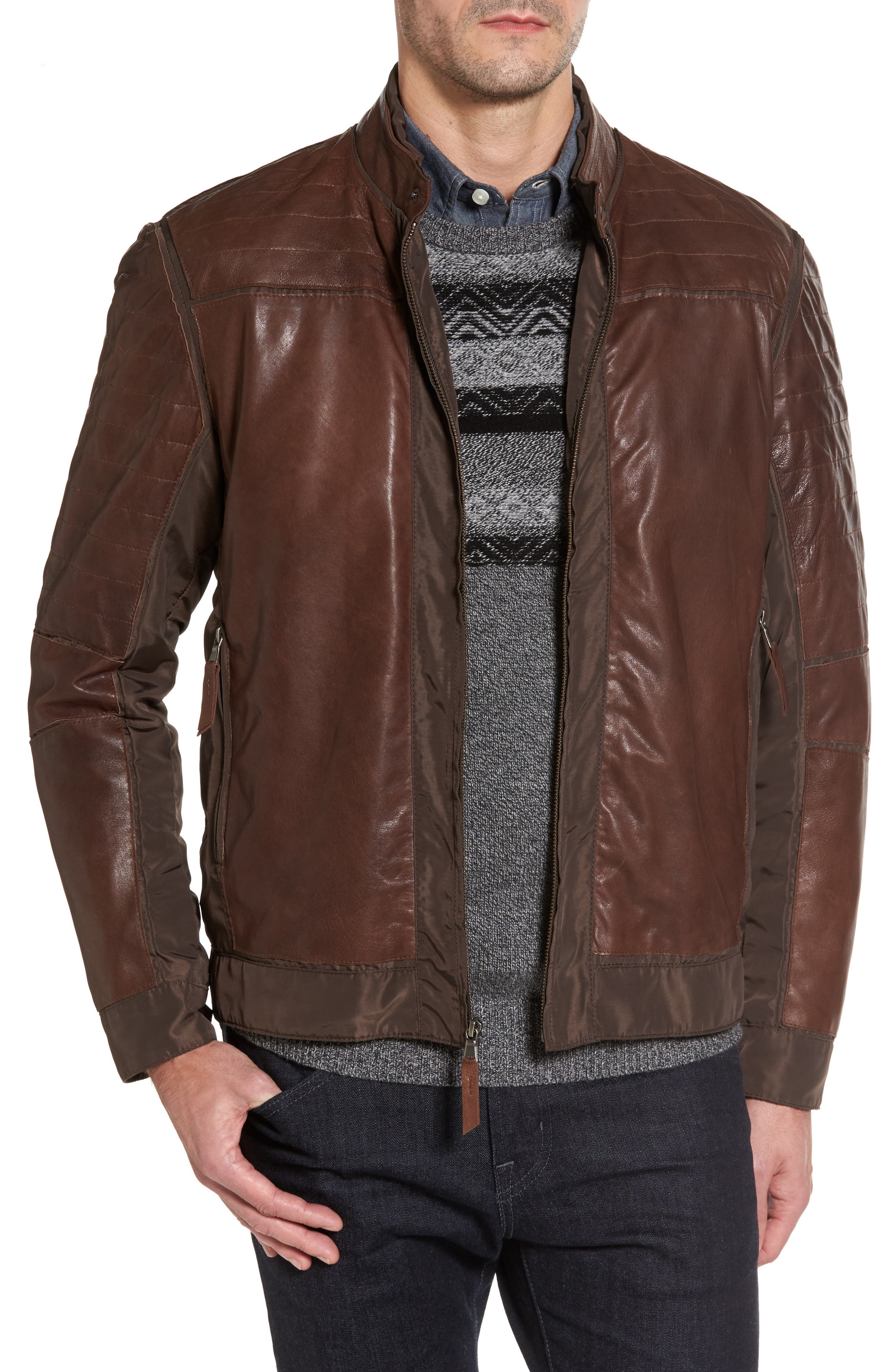 Leather Panel Nylon Jacket,                         Main,                         color, Brown