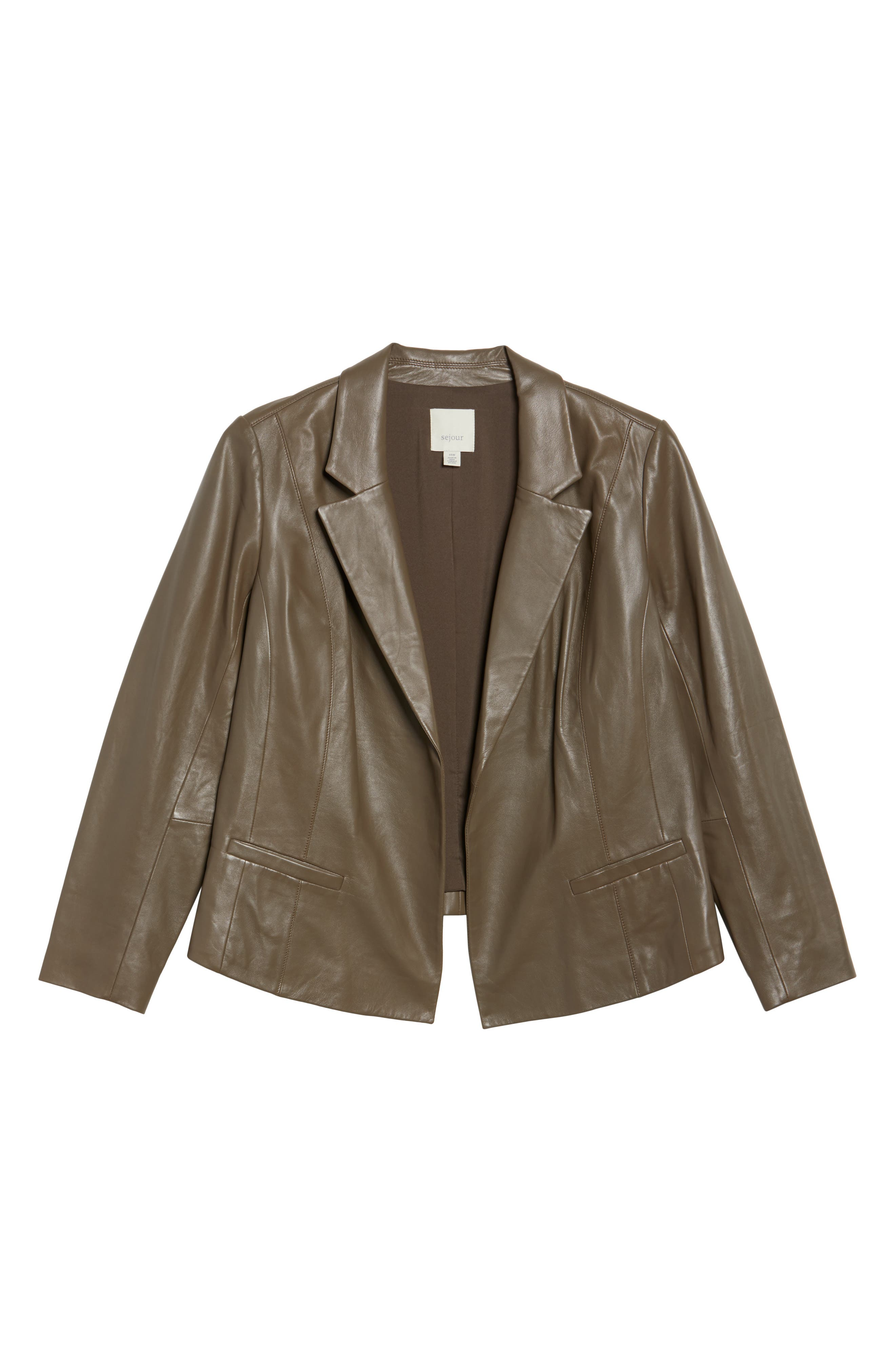 Leather Blazer,                             Alternate thumbnail 6, color,                             Olive Grey