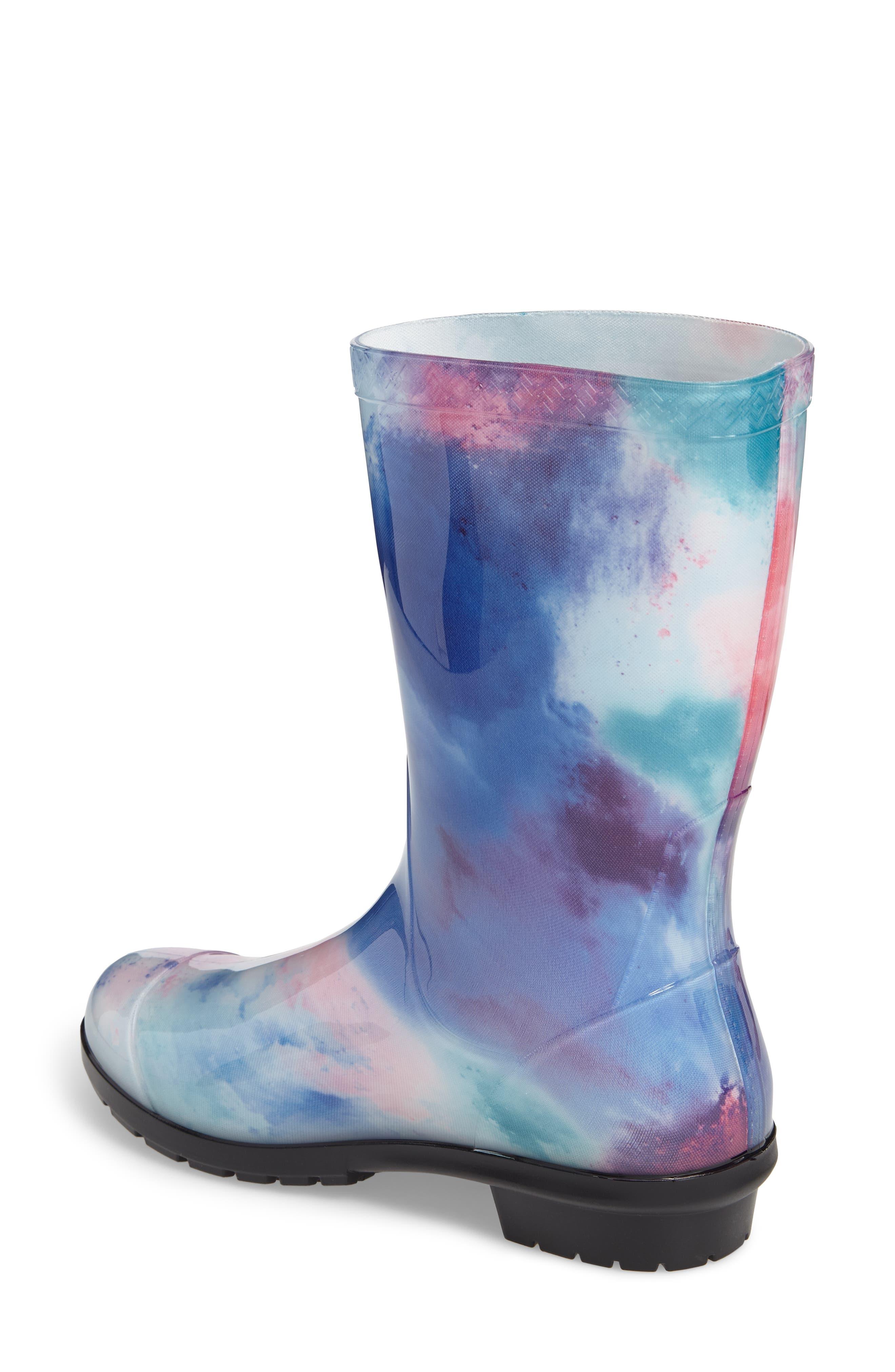 Sienna Watercolor Waterproof Rain Boot,                             Alternate thumbnail 2, color,                             Wild Rose/ Waterfall