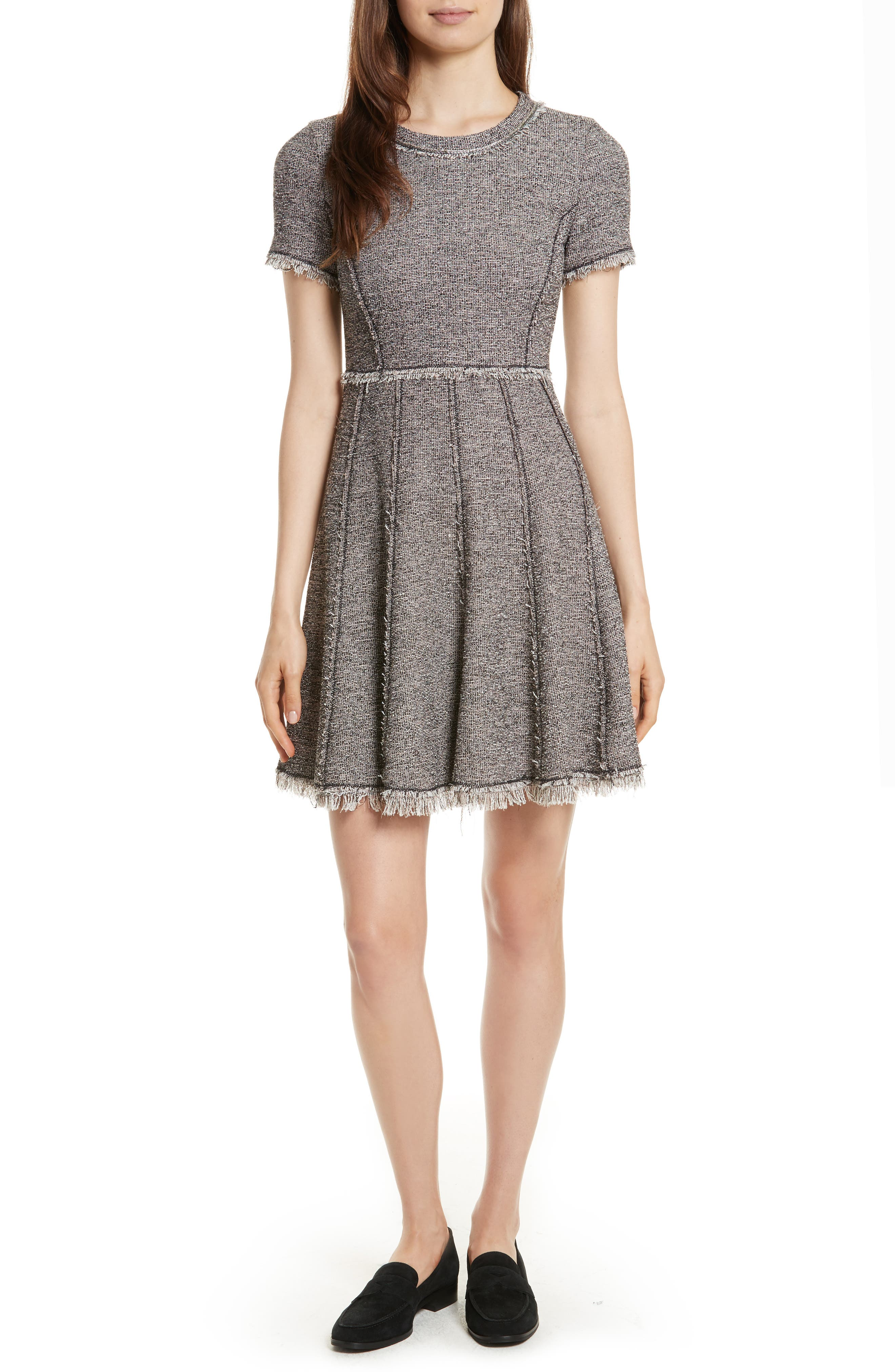 Stretch Tweed Dress,                         Main,                         color, Nude Combo