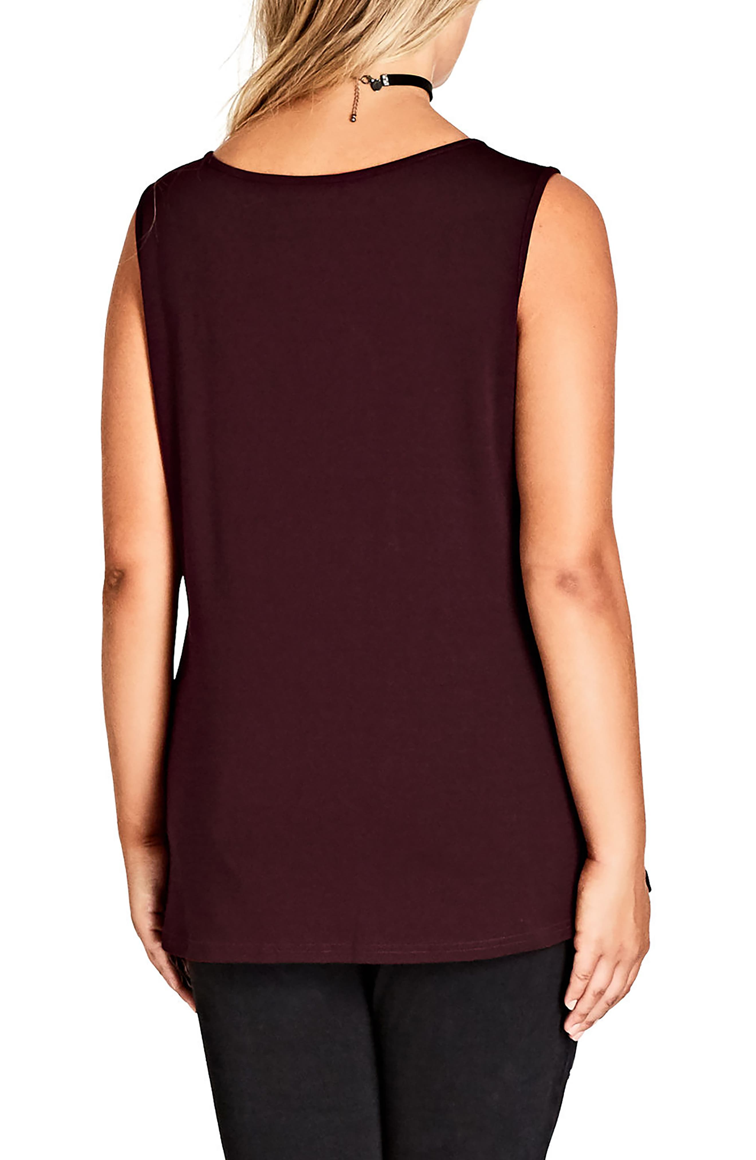 Alternate Image 2  - City Chic Smooth Zip Front Top (Plus Size)