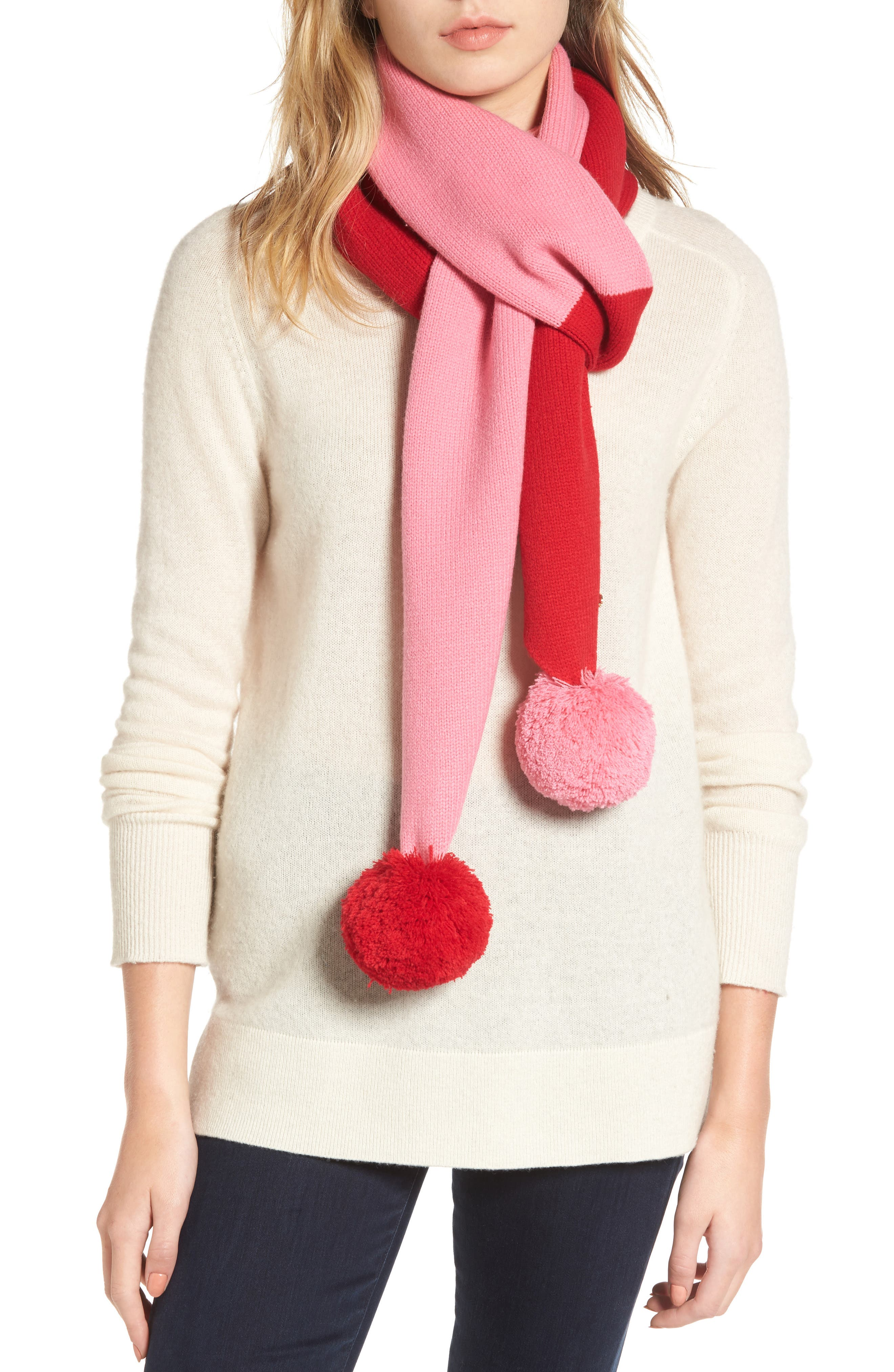 colorblock muffler,                         Main,                         color, Fleur De Lis/Charm Red