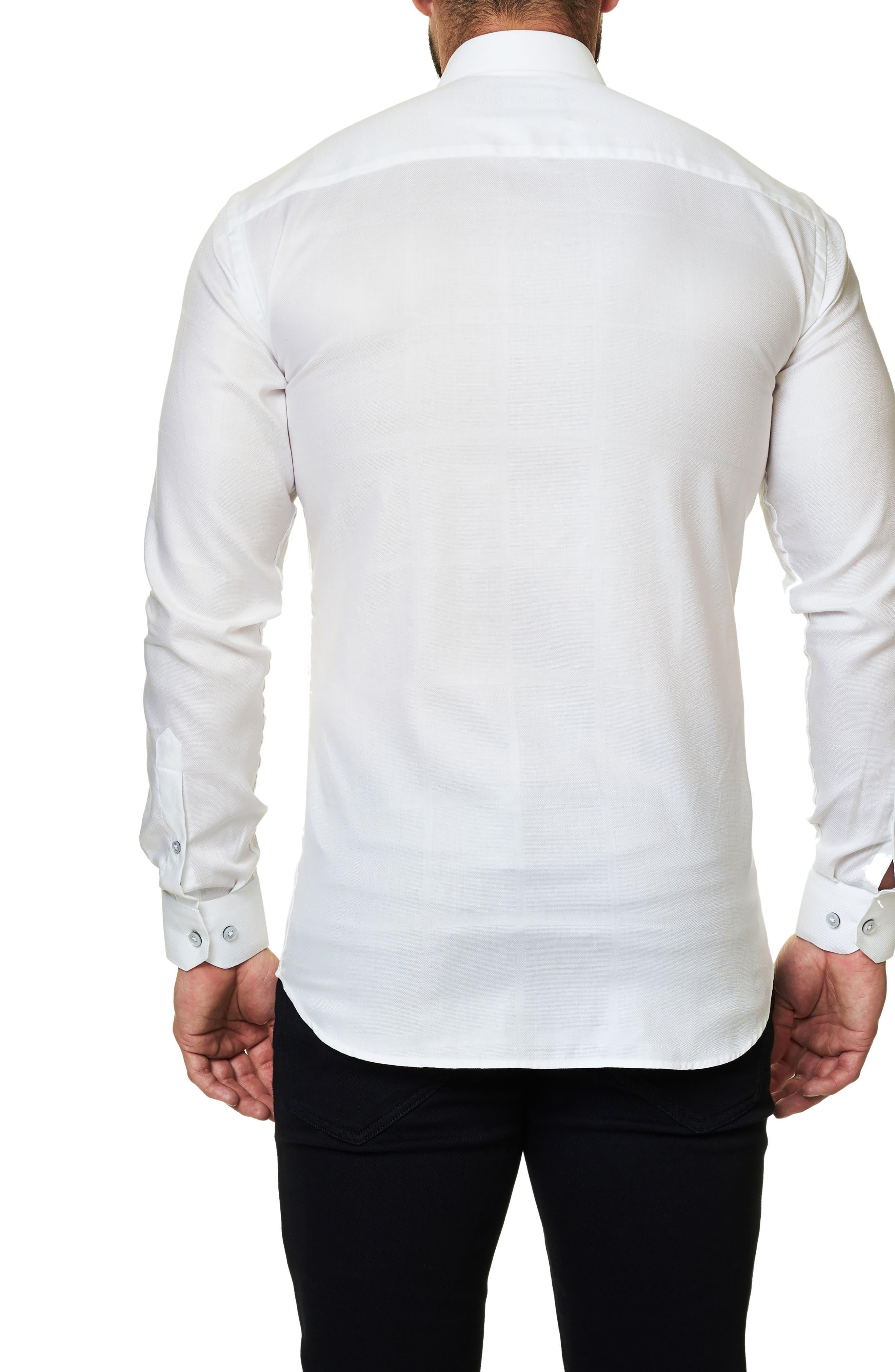Trim Fit Tuxedo Panel Sport Shirt,                             Alternate thumbnail 2, color,                             White
