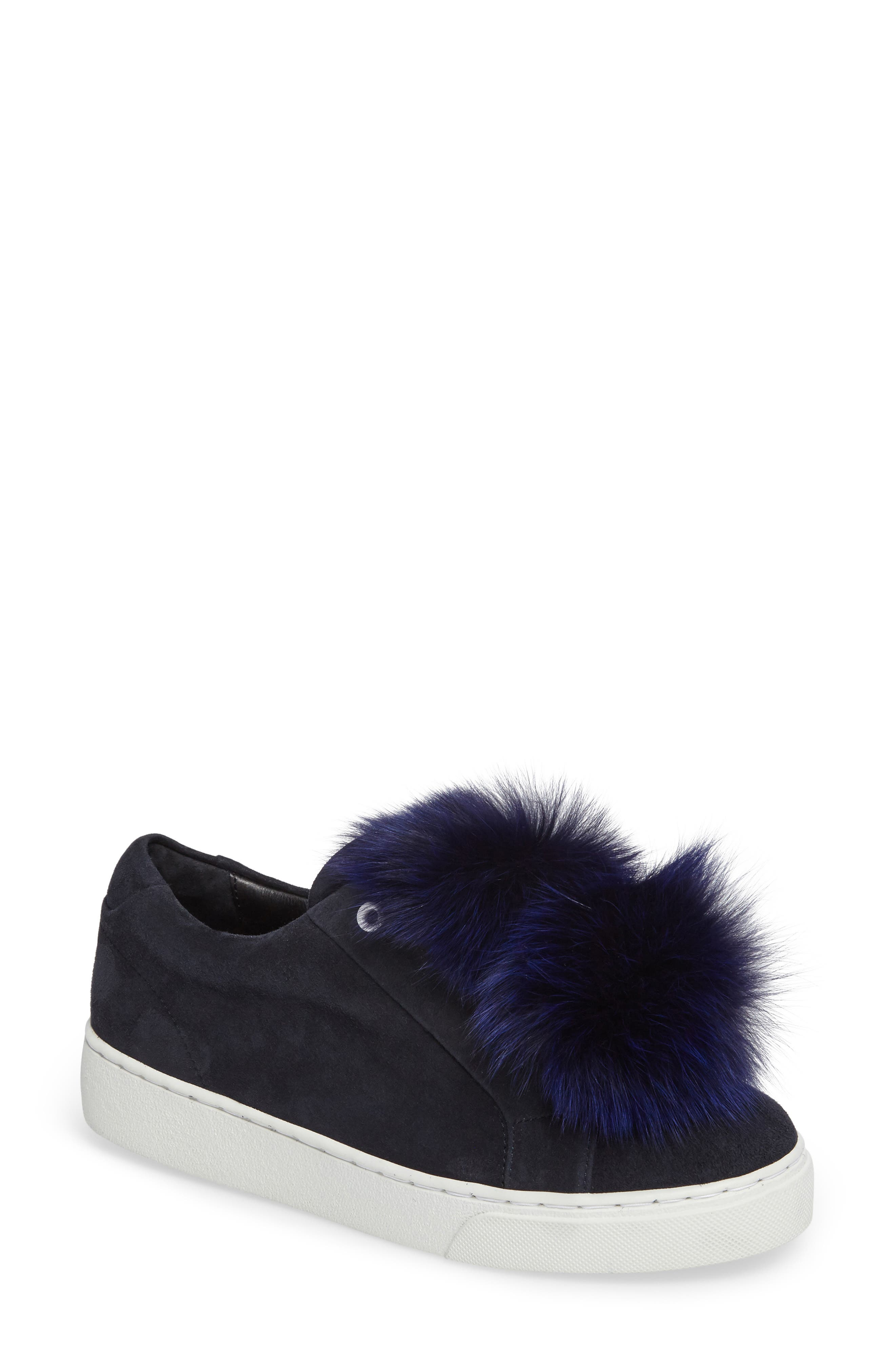 T Genuine Fox Fur Slip-On Sneaker,                             Main thumbnail 1, color,                             Navy Suede