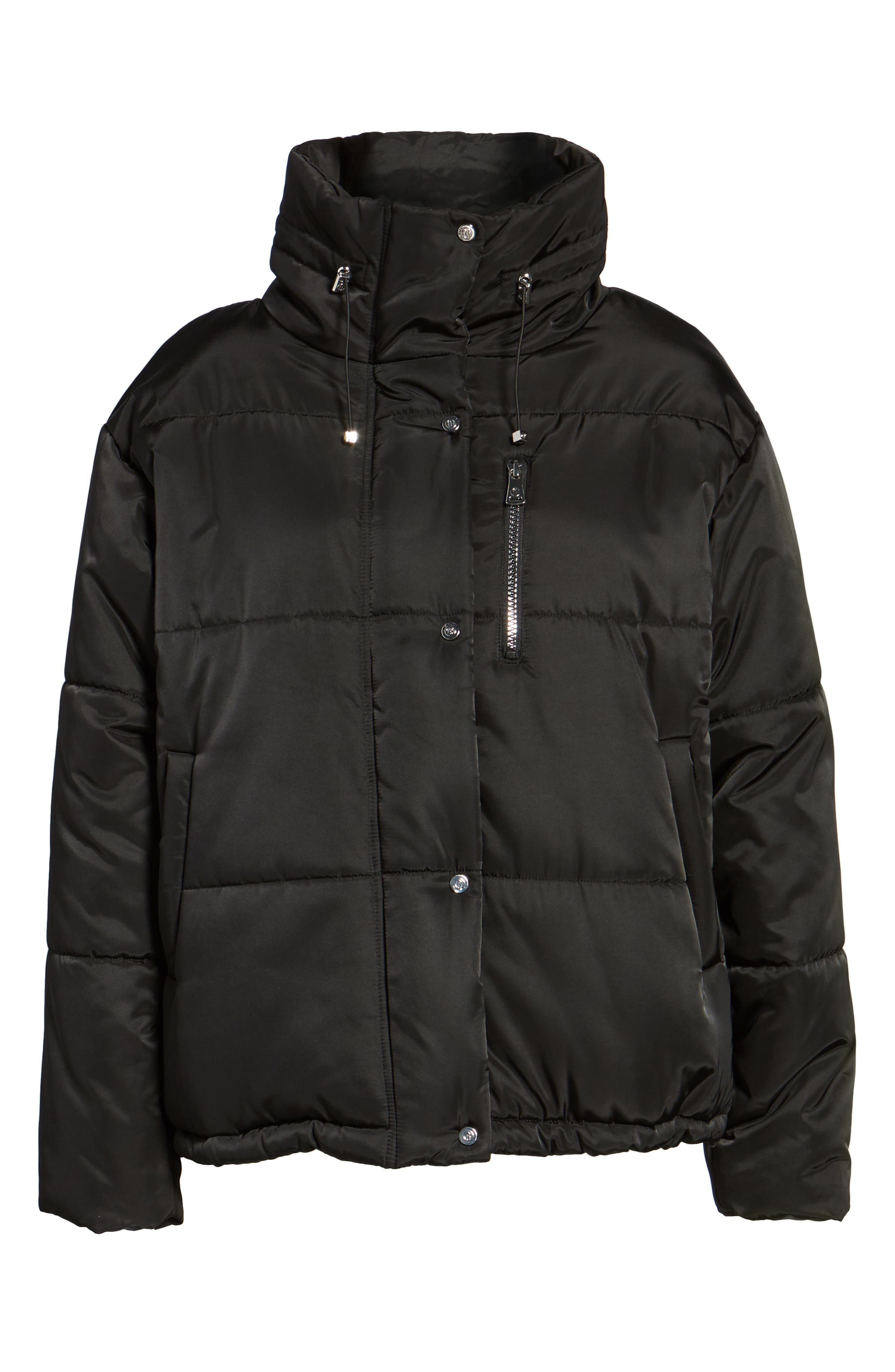 Oversize Puffer Jacket,                             Alternate thumbnail 6, color,                             Black