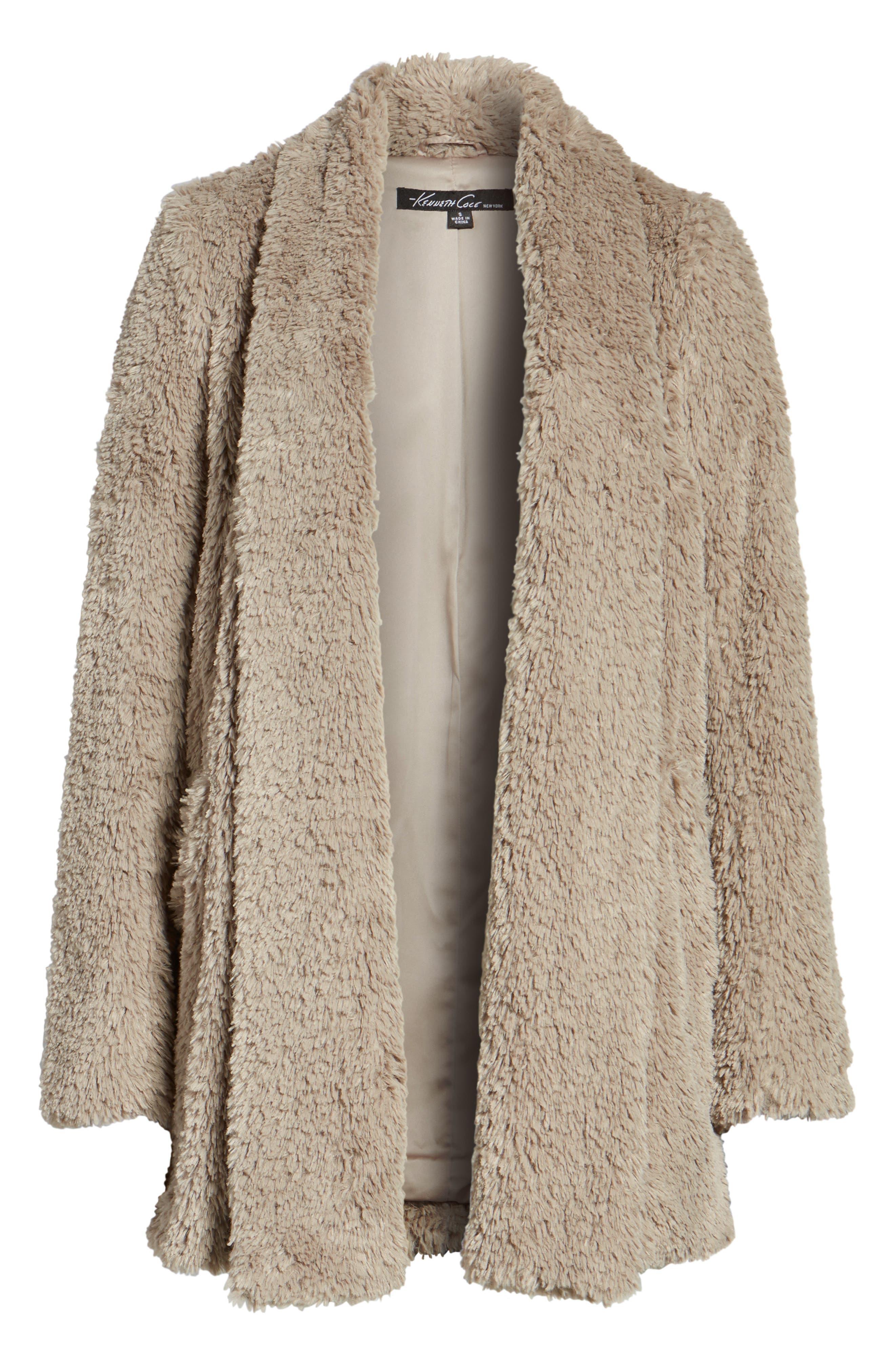 'Teddy Bear' Faux Fur Clutch Coat,                             Alternate thumbnail 6, color,                             Natural