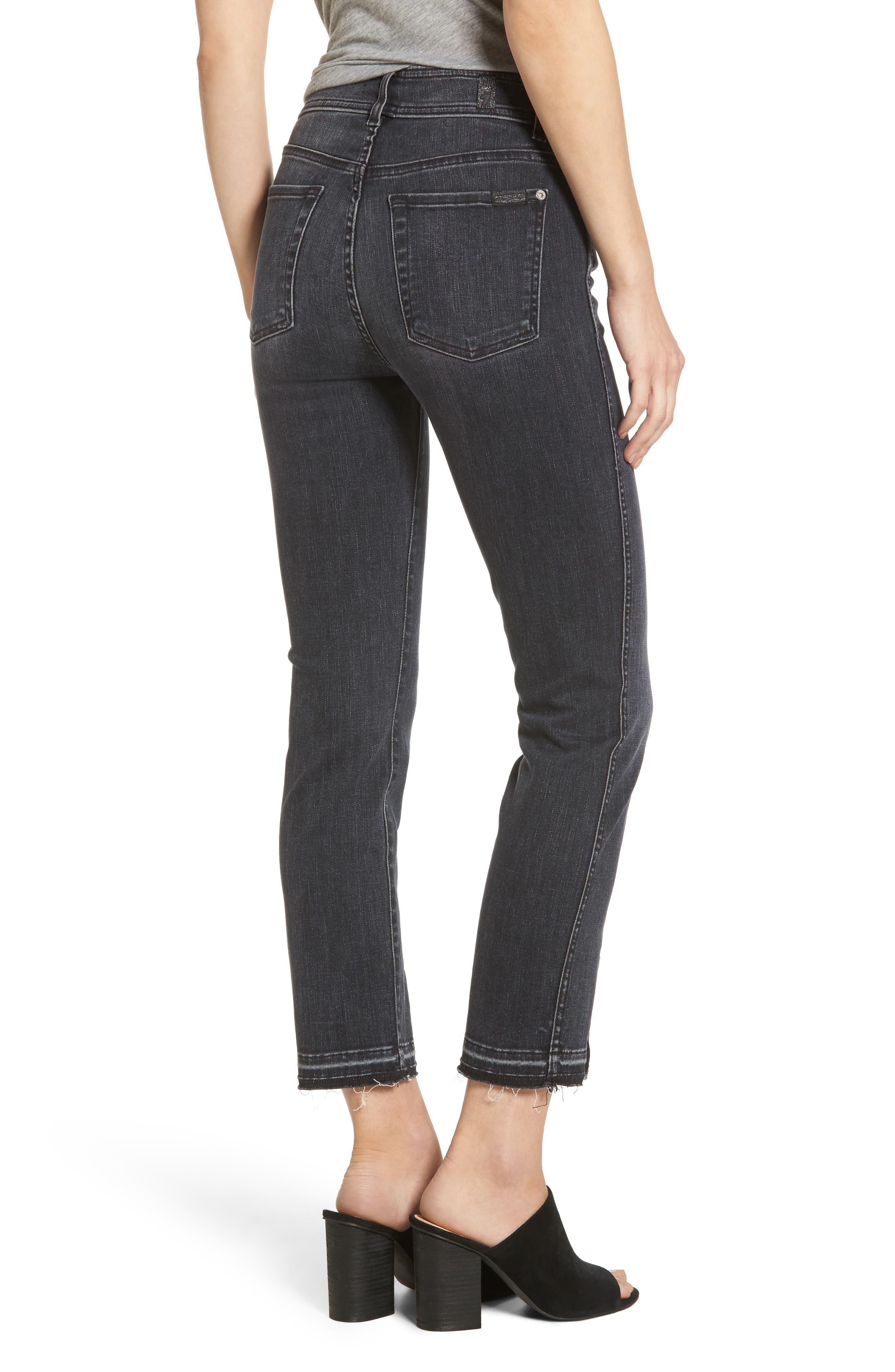 Alternate Image 2  - 7 For All Mankind® Split Hem Ankle Skinny Jeans (Vintage Noir)