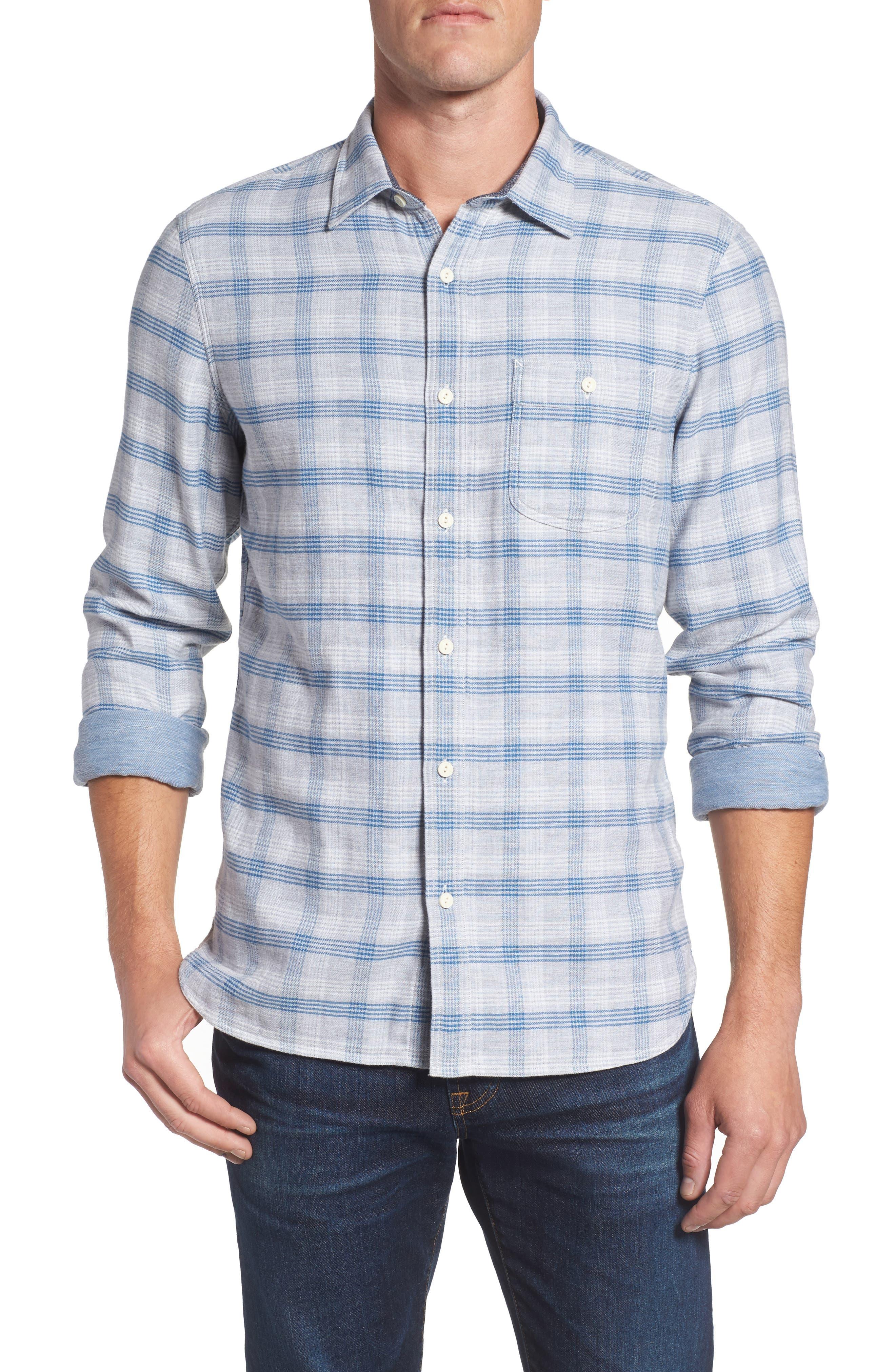 Nordstrom Men's Shop Utility Duofold Trim Fit Sport Shirt (Tall)