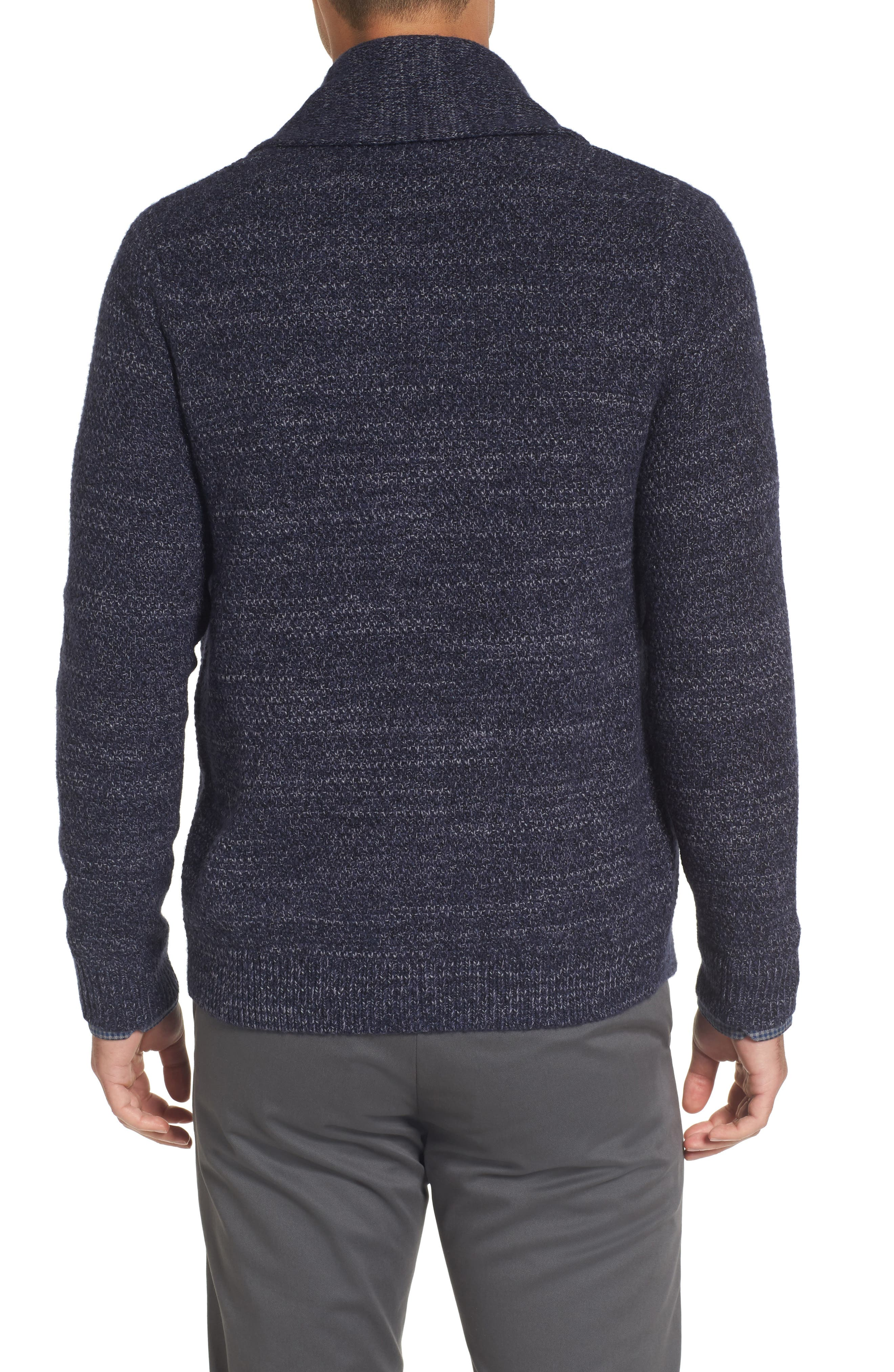 Shawl Collar Cardigan,                             Alternate thumbnail 2, color,                             Navy Iris Combo