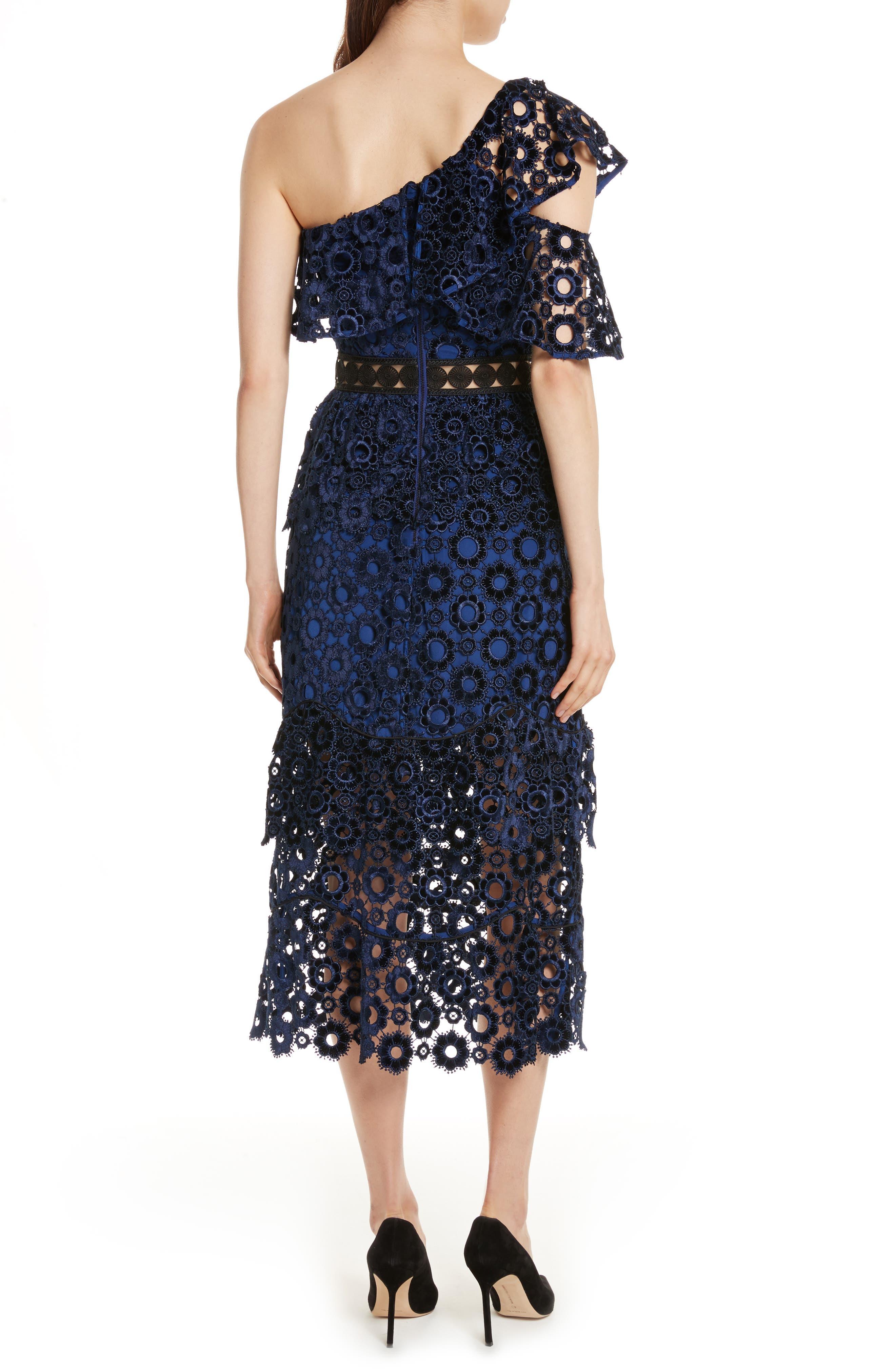 Lace One-Shoulder Midi Dress,                             Alternate thumbnail 2, color,                             Blue