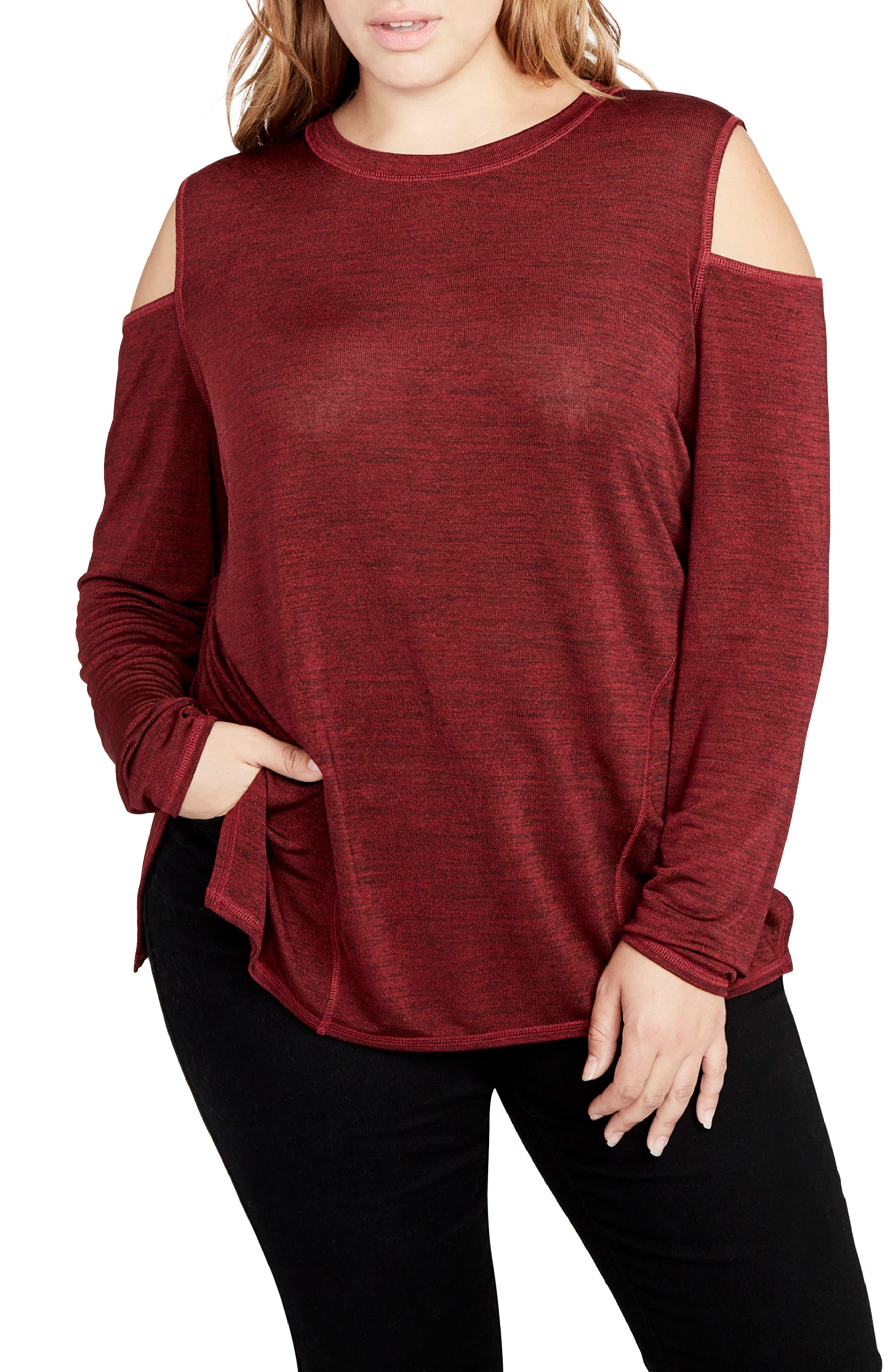 Cold Shoulder Top,                         Main,                         color, Heather Port Wine