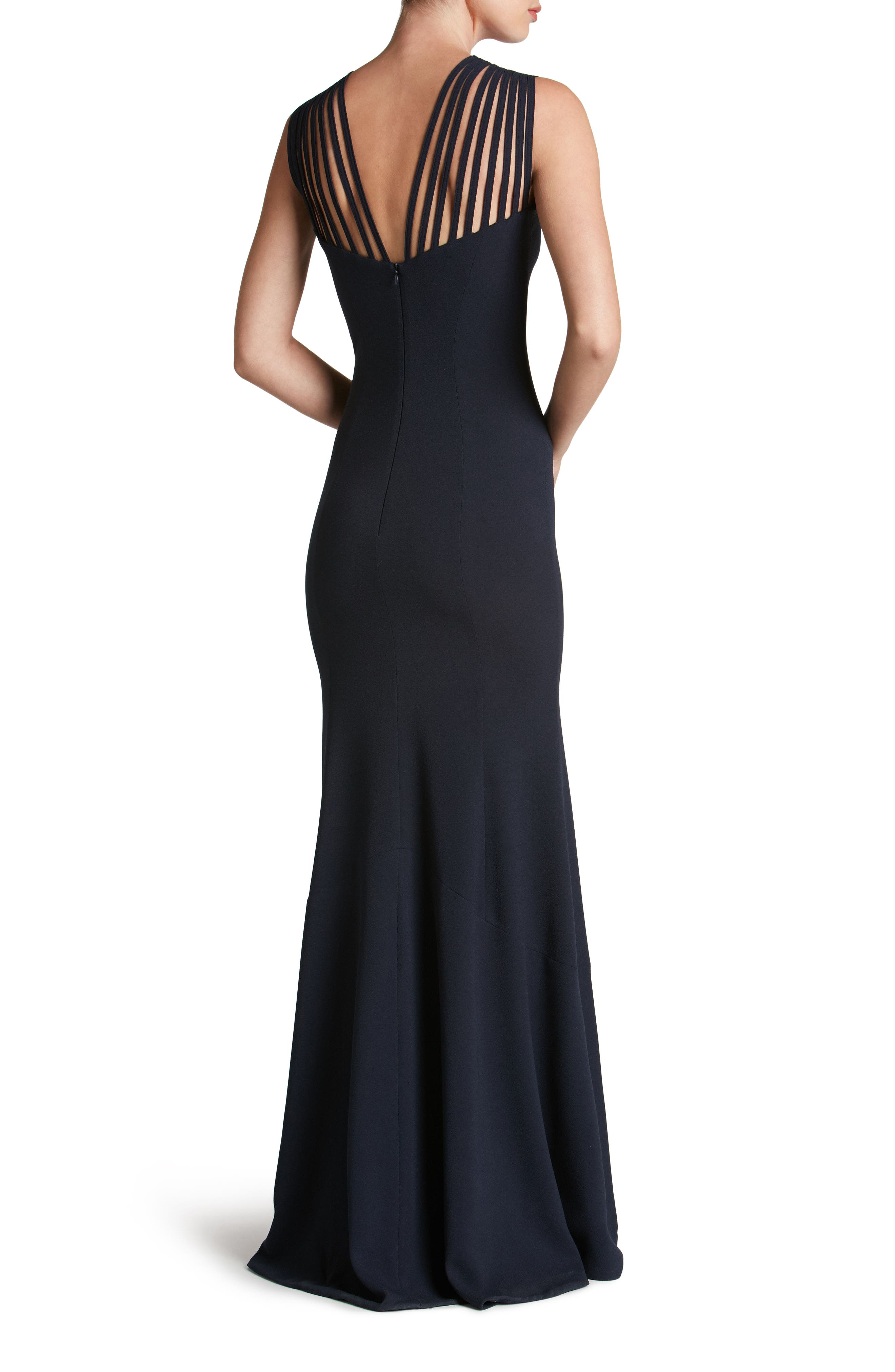 Harlow Crepe Gown,                             Alternate thumbnail 2, color,                             Navy