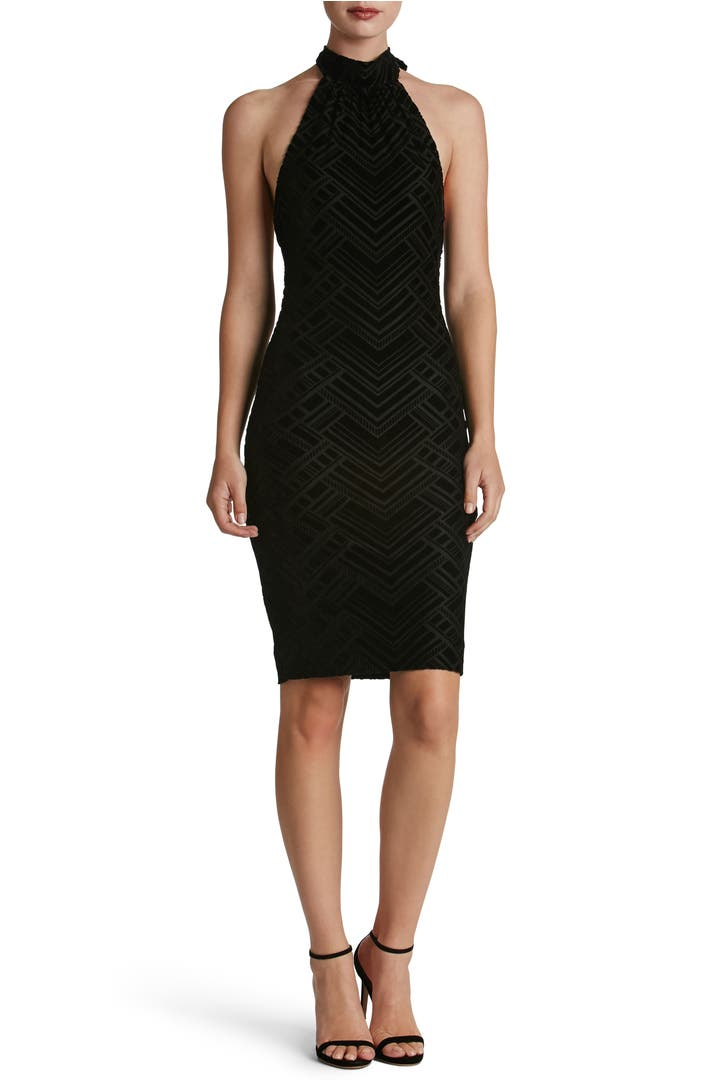 dress the population avery geometric burnout velvet halter dress nordstrom. Black Bedroom Furniture Sets. Home Design Ideas