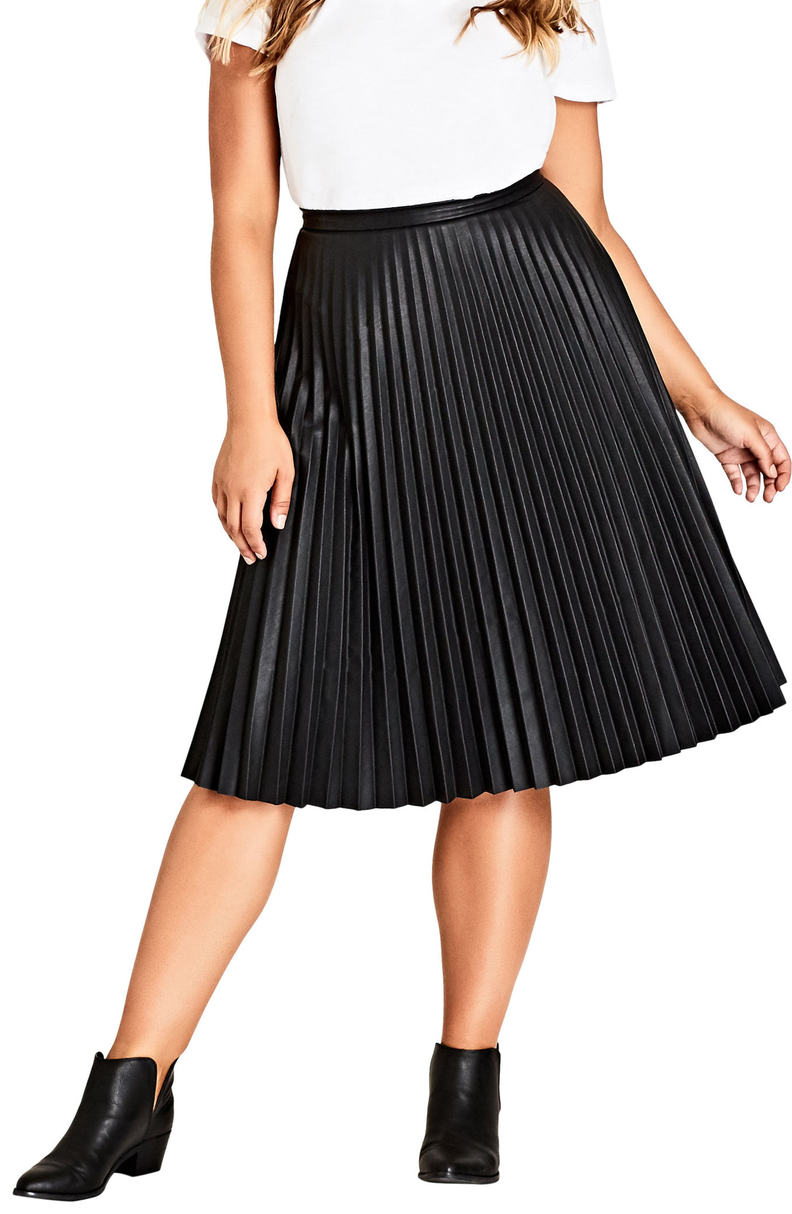 Pleated Faux Leather Skirt,                         Main,                         color, Black