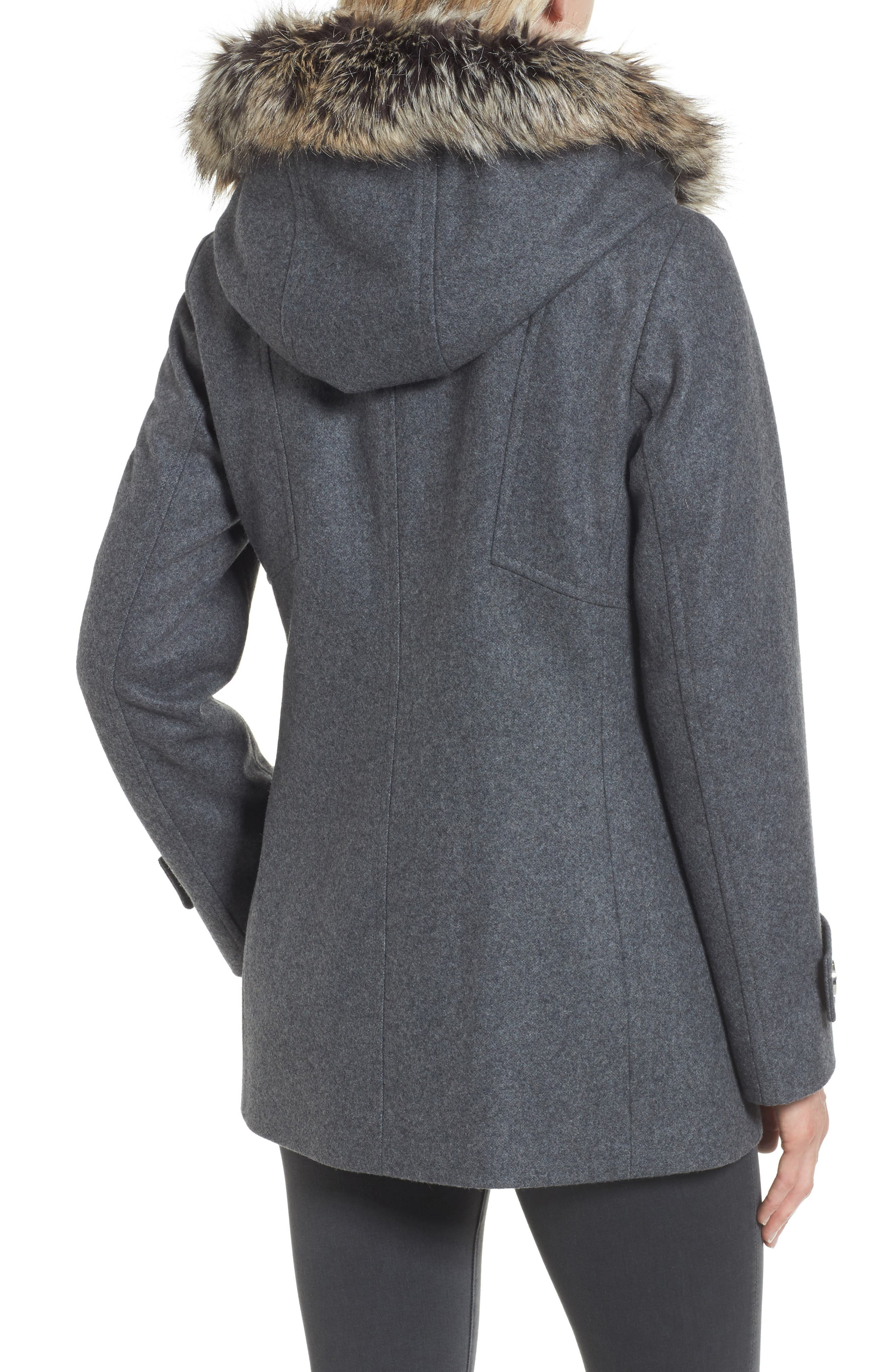 Peacoat with Faux Fur Trim,                             Alternate thumbnail 2, color,                             Medium Grey