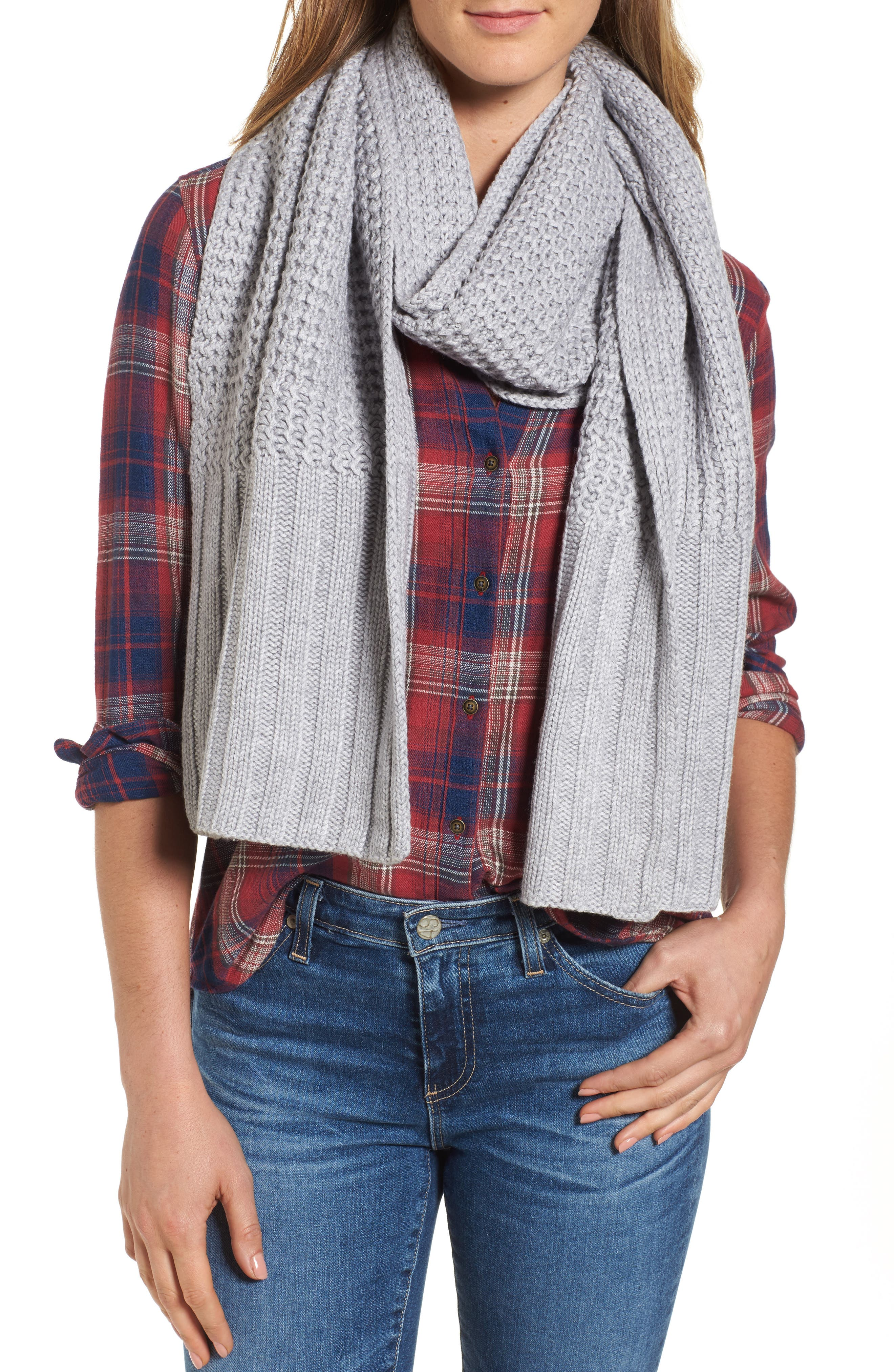 UGG<sup>®</sup> Textured Wool Blend Cardi Scarf,                         Main,                         color, Sterling Heather