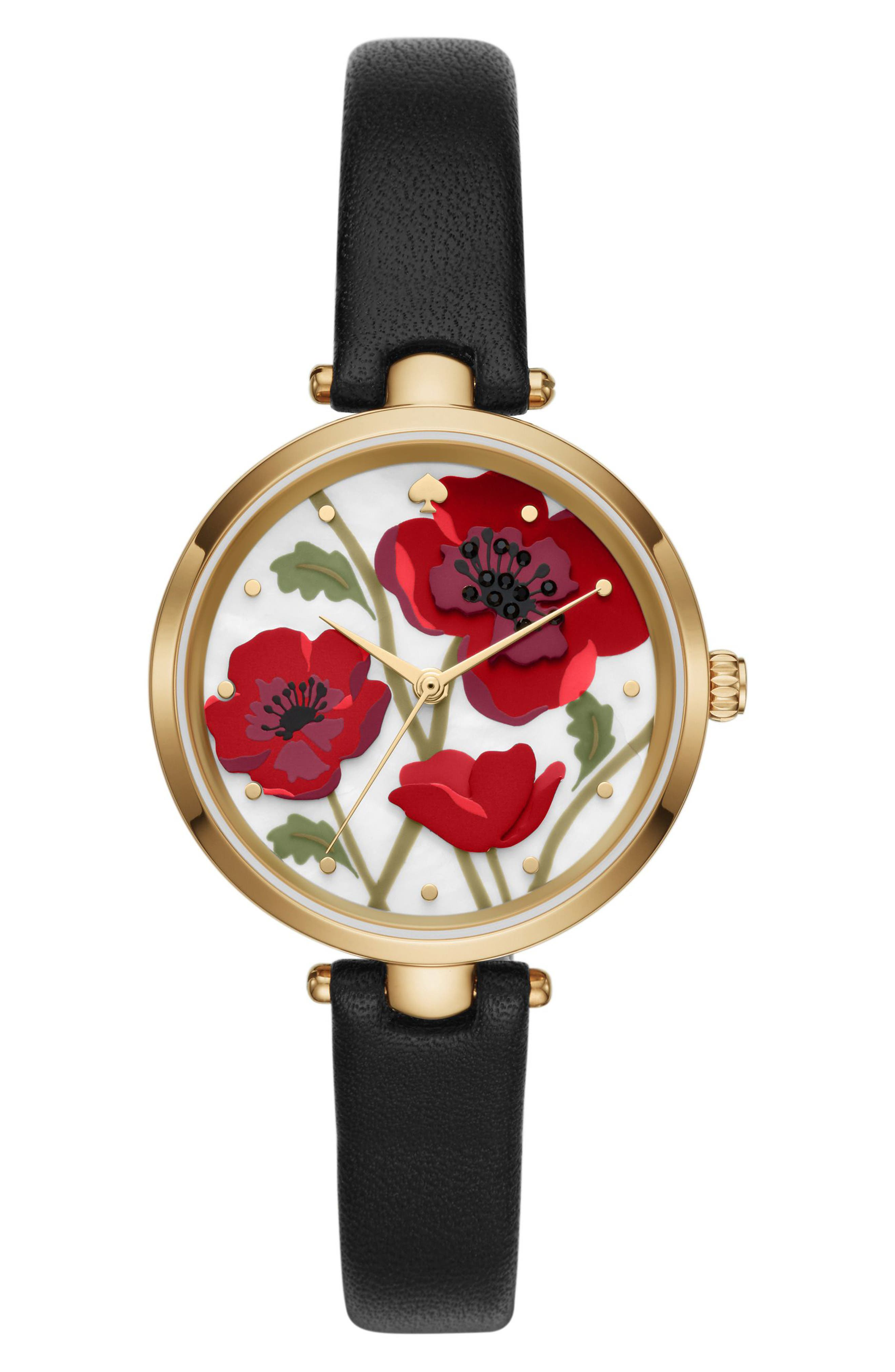 holland poppy leather strap watch, 34mm,                         Main,                         color, Black/ Mop/ Gold