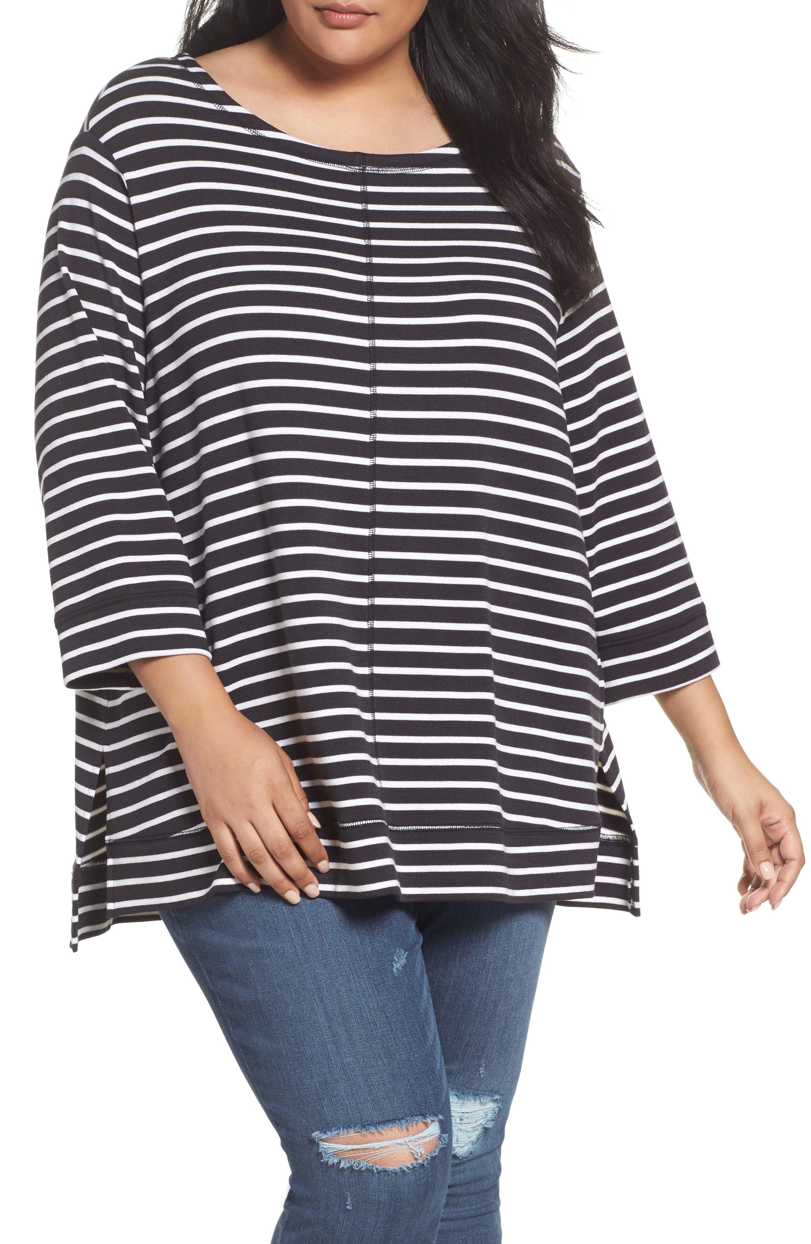 Caslon® Three Quarter Sleeve Modal Blend Knit Top (Plus Size)
