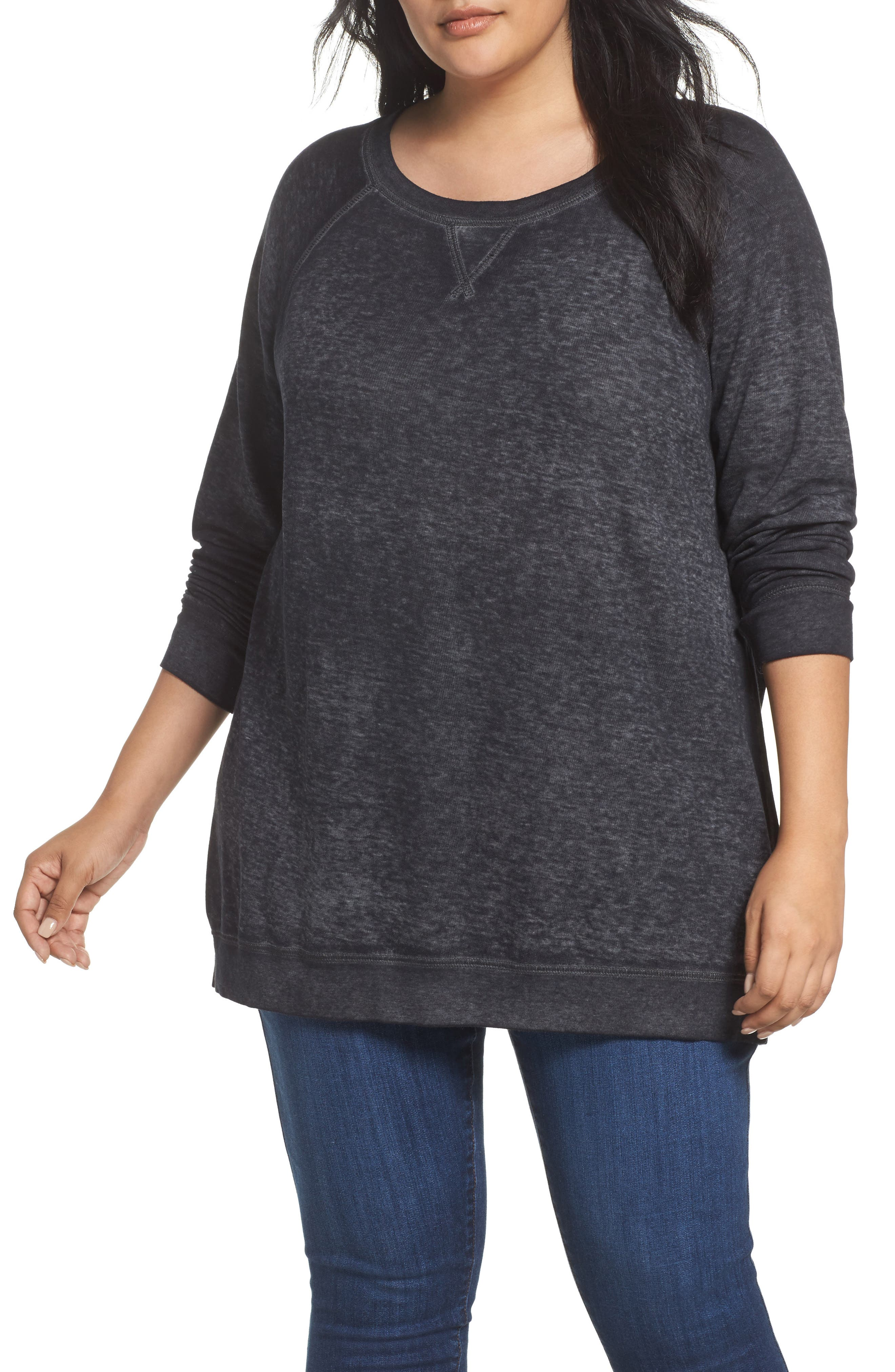 Caslon® Burnout Sweatshirt (Plus Size)